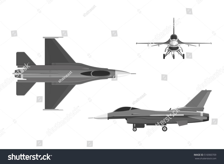 image military aircraft three views airplane stock vector