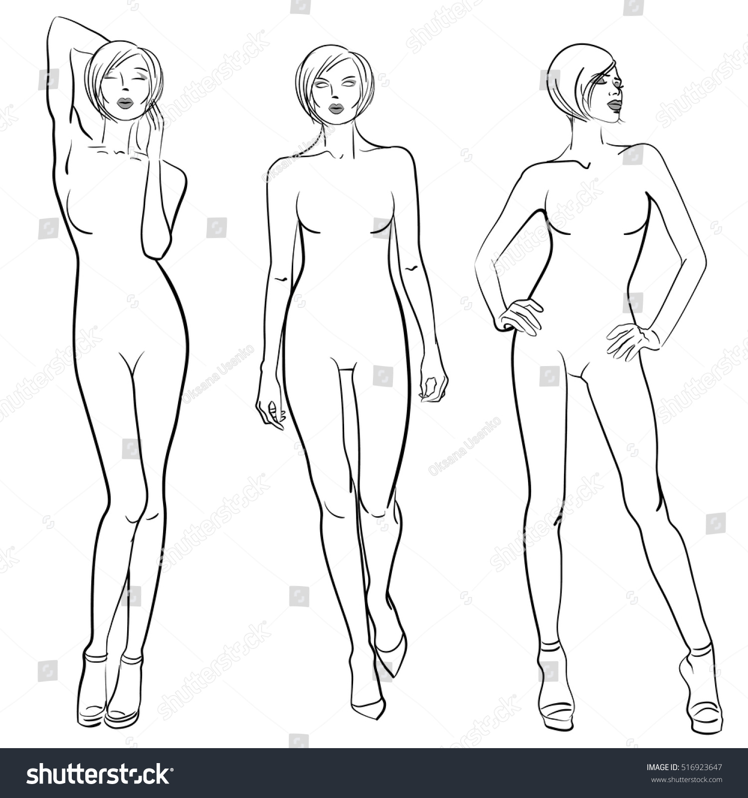 Sketch Fashion Models Templates Design Stock Vector Royalty Free