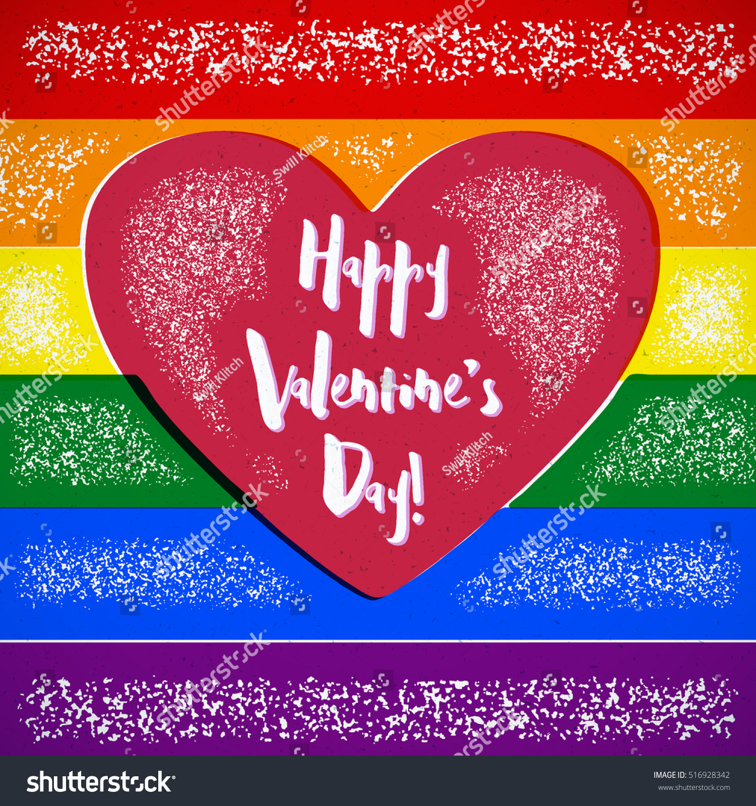 rainbow valentines day card gay heart stock vector 516928342 shutterstock