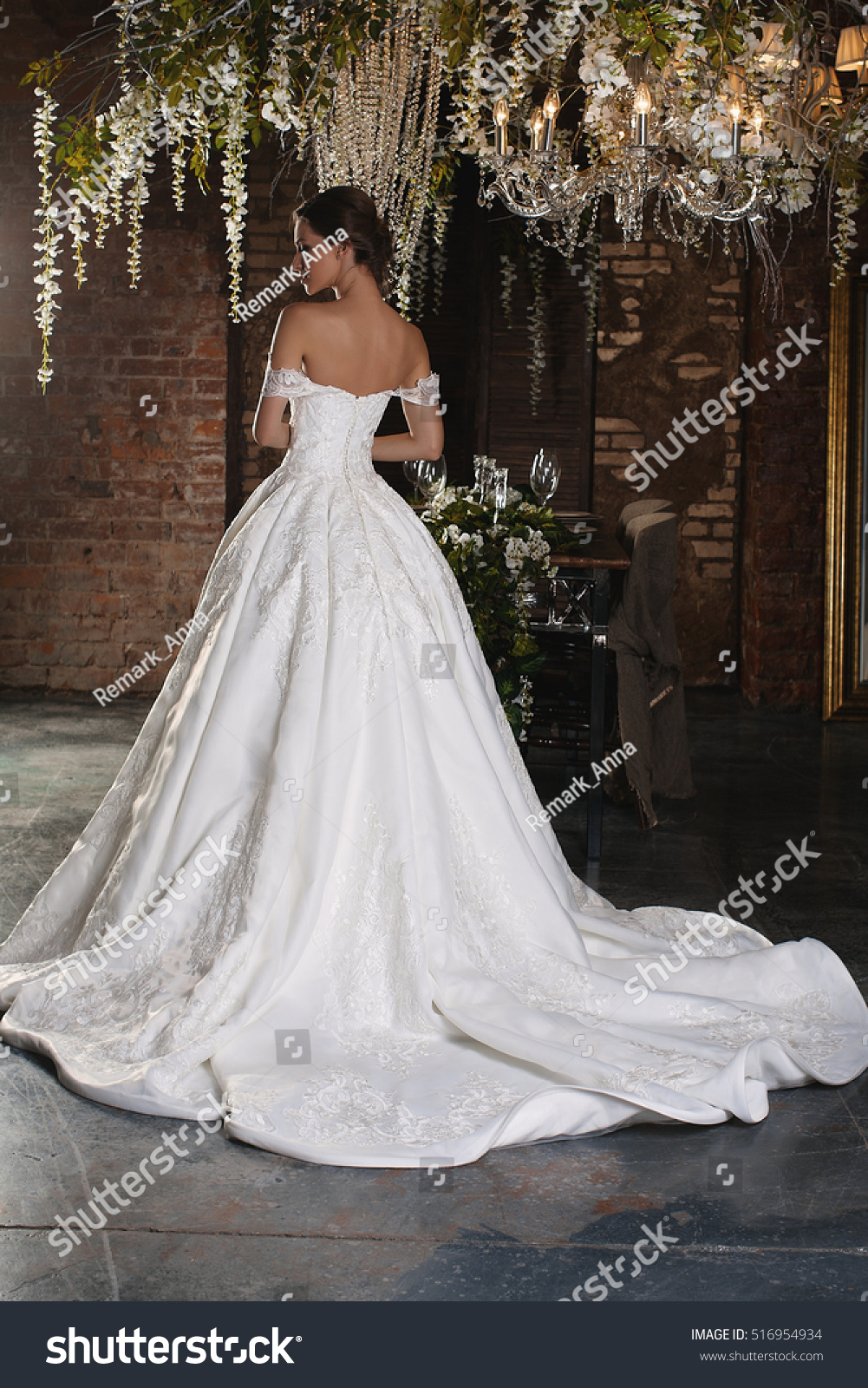 Luxury Bride Wedding Dress Christmas Charming Stock Photo (Royalty ...