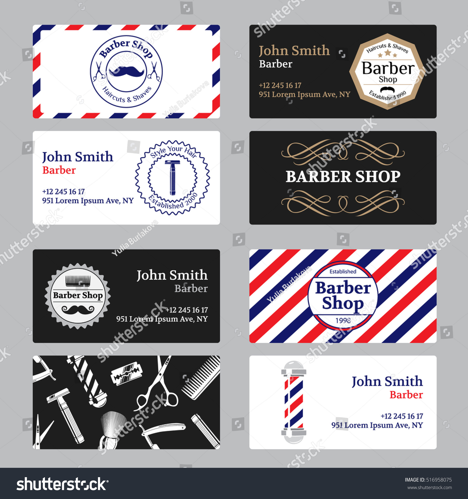 Set barber shop business card on stock vector royalty free set of barber shop business card on black and white background template barber shop business friedricerecipe Image collections