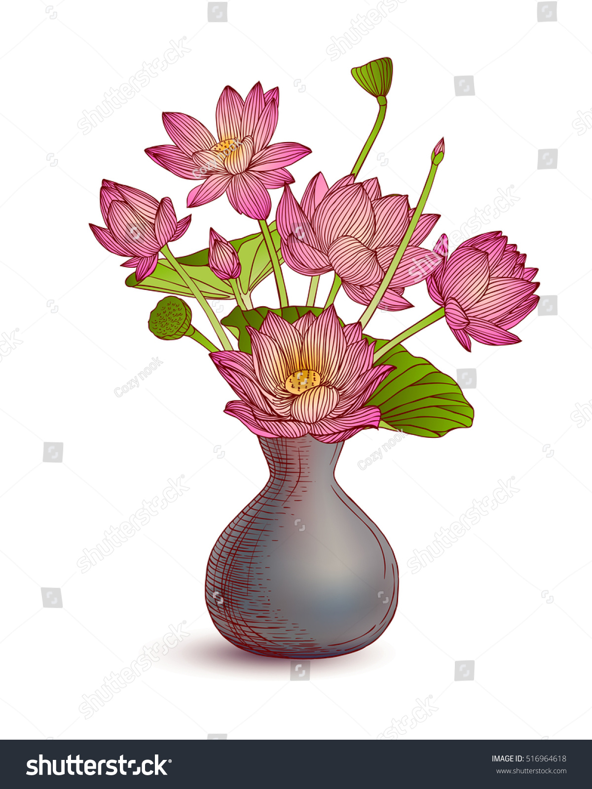 Vase Lotus Flowers On White Background Stock Vector Royalty Free