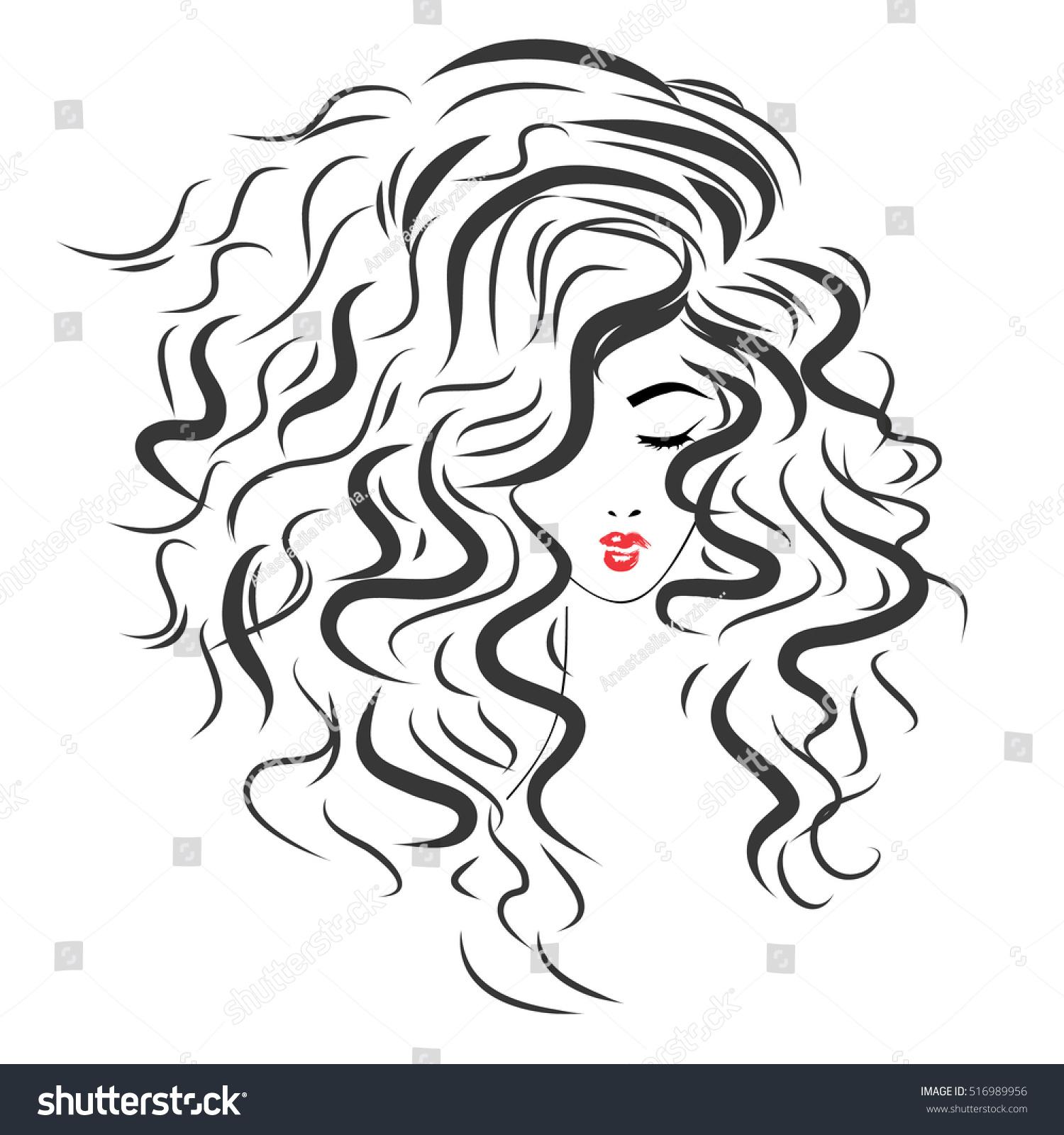 Vetor Stock De Vector Sketch Beautiful Girl Long Curly Livre De