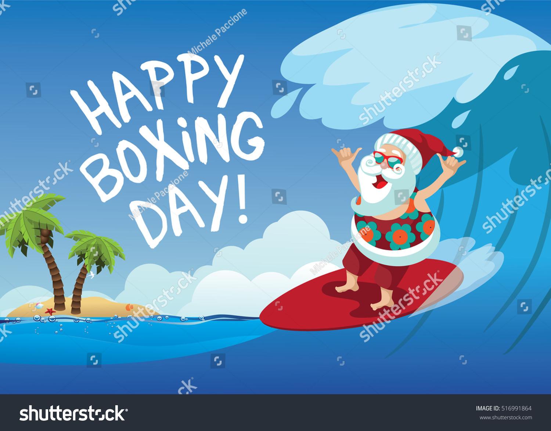 Happy Boxing Day Cartoon Santa Claus Stock Vector