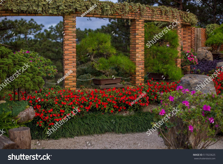 Colourful Flowerbeds Attractive Garden Garden Flowers Stock Photo ...
