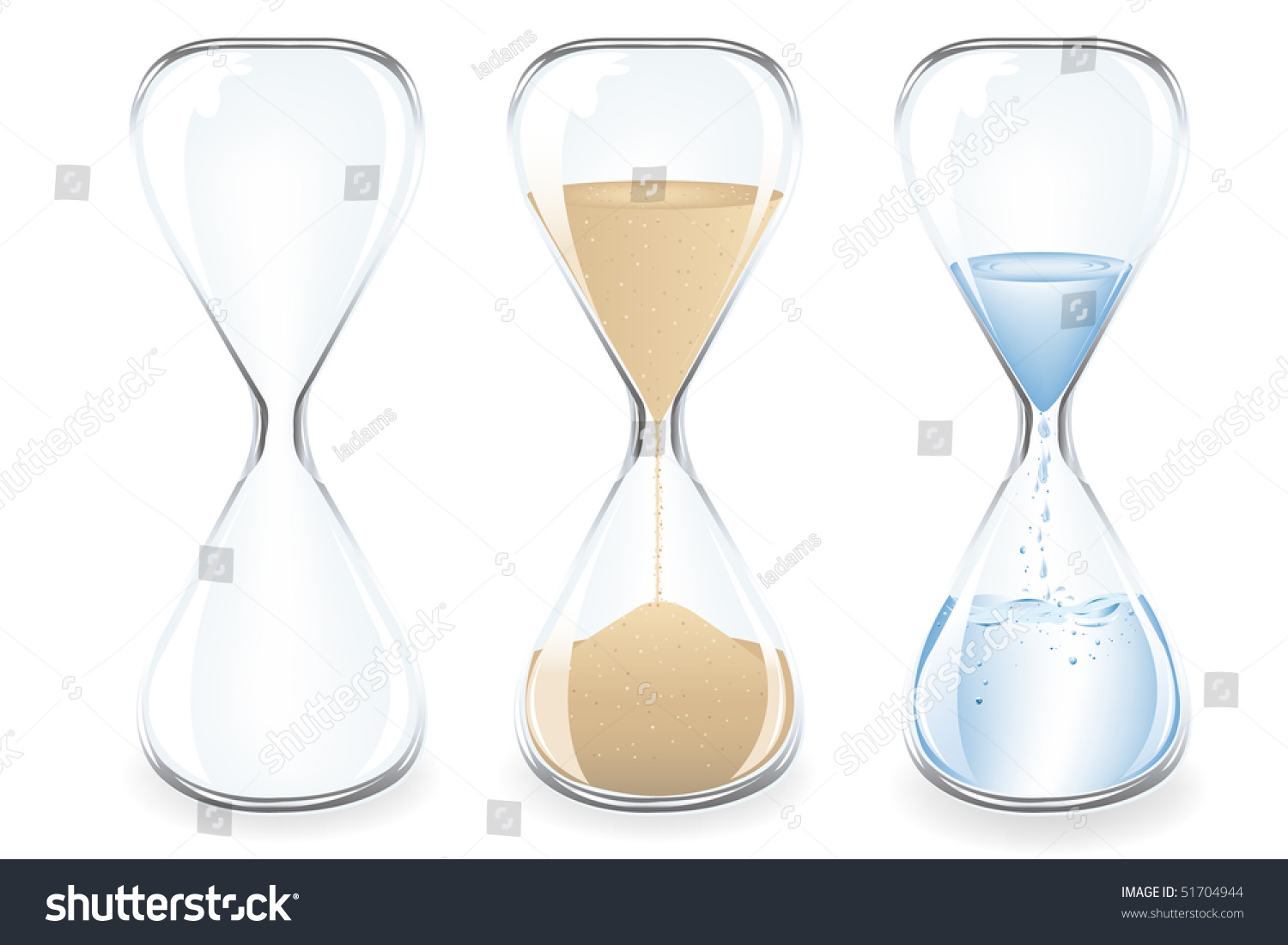 Sand water empty clocks isolated on stock vector hd royalty free sand water and empty clocks isolated on white thecheapjerseys Gallery