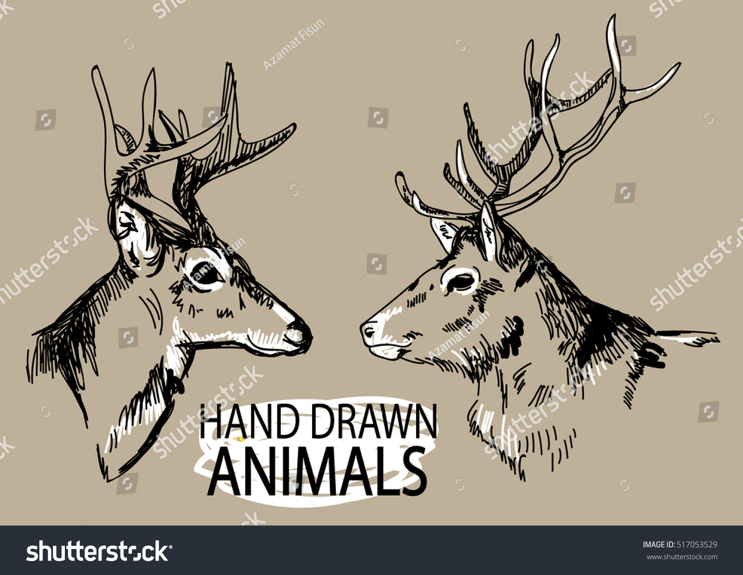 deer head set images drawing by stock vector 517053529 shutterstock