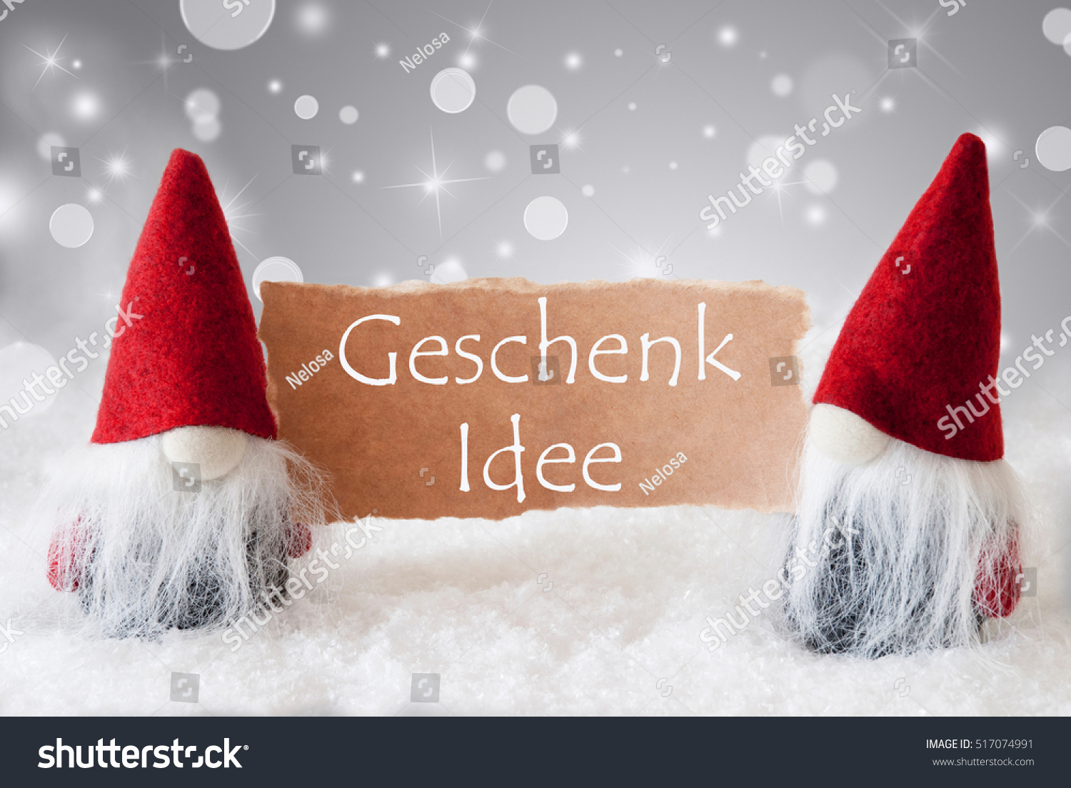 red gnomes with snow geschenk idee means gift idea stock photo 517074991 shutterstock. Black Bedroom Furniture Sets. Home Design Ideas