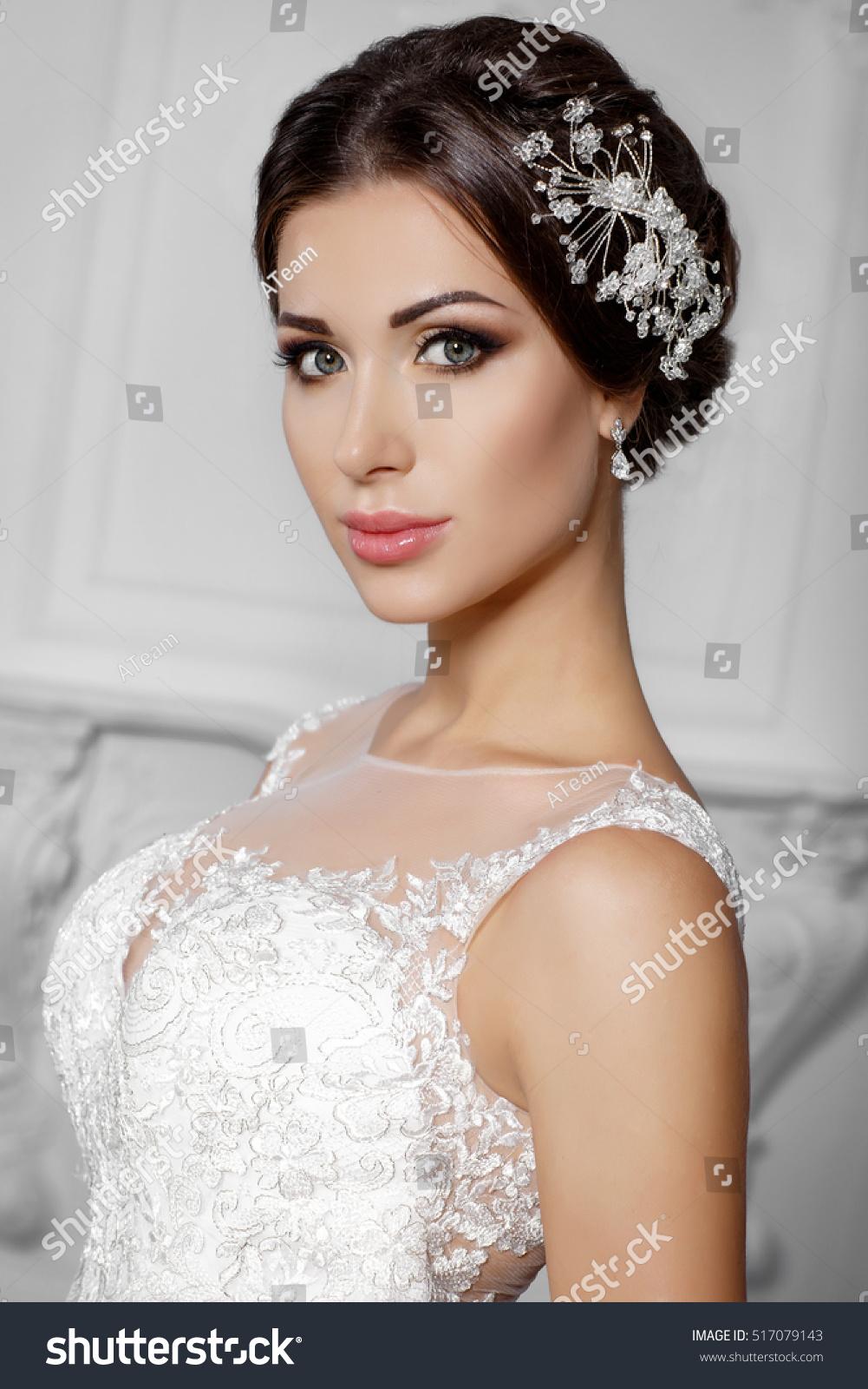 Fashion Bride Gorgeous Wedding Dress Studio Stock Photo Edit Now