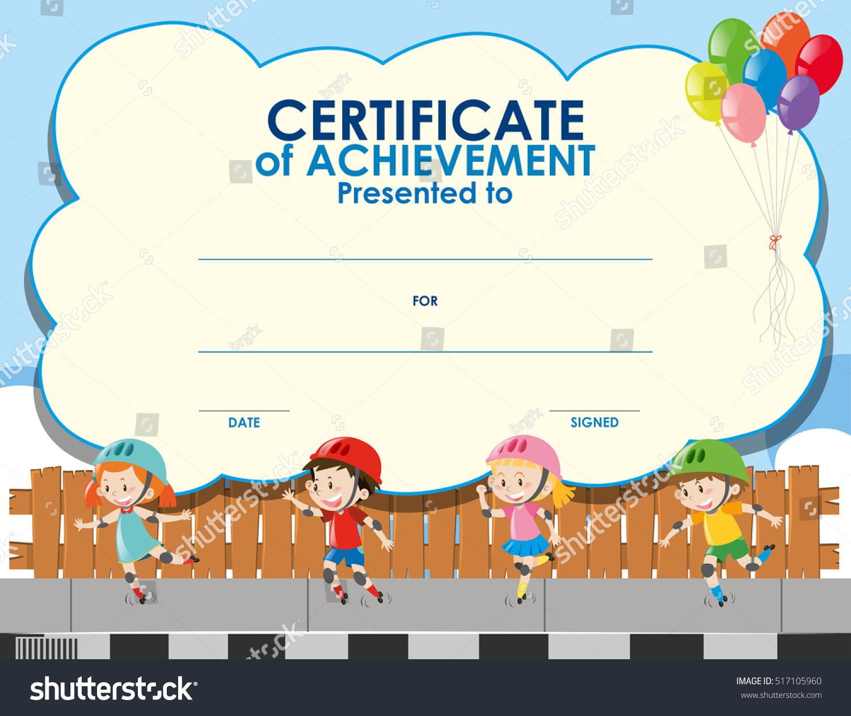 Certificate Template Kids Skating Illustration Stock Vector Royalty