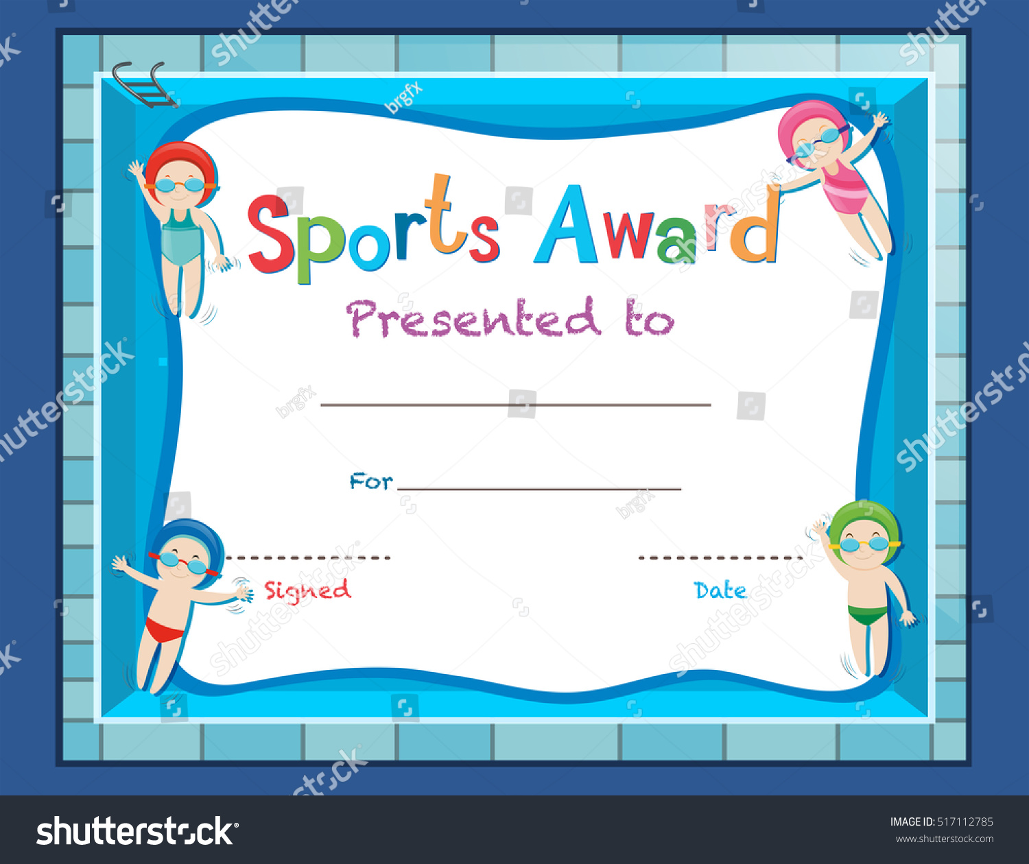 Certificate template kids swimming illustration stock vector certificate template with kids swimming illustration yadclub Choice Image