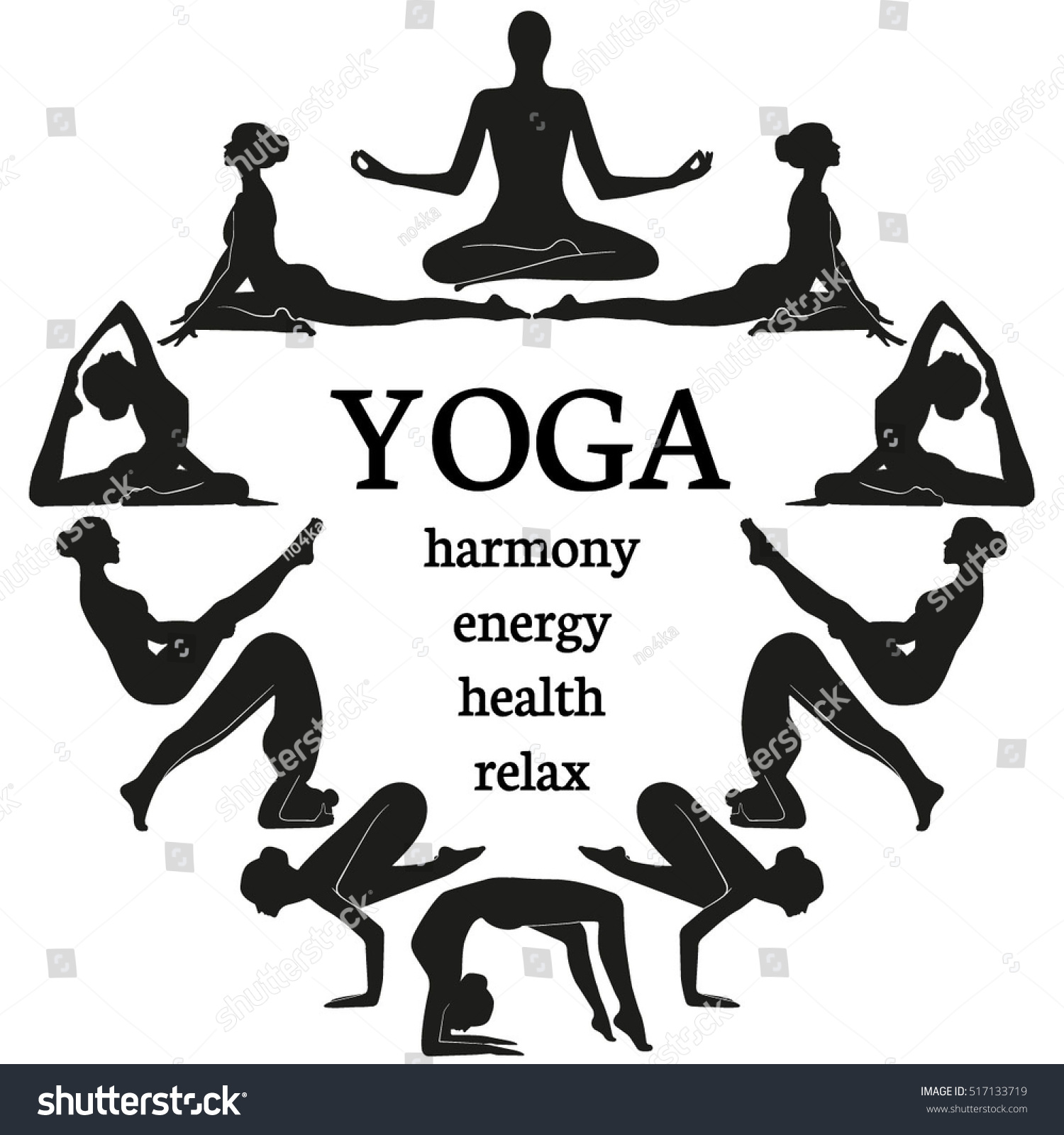 Vector Set Yoga Healthy Lifestyle Illustration Stock Vector Royalty Free 517133719