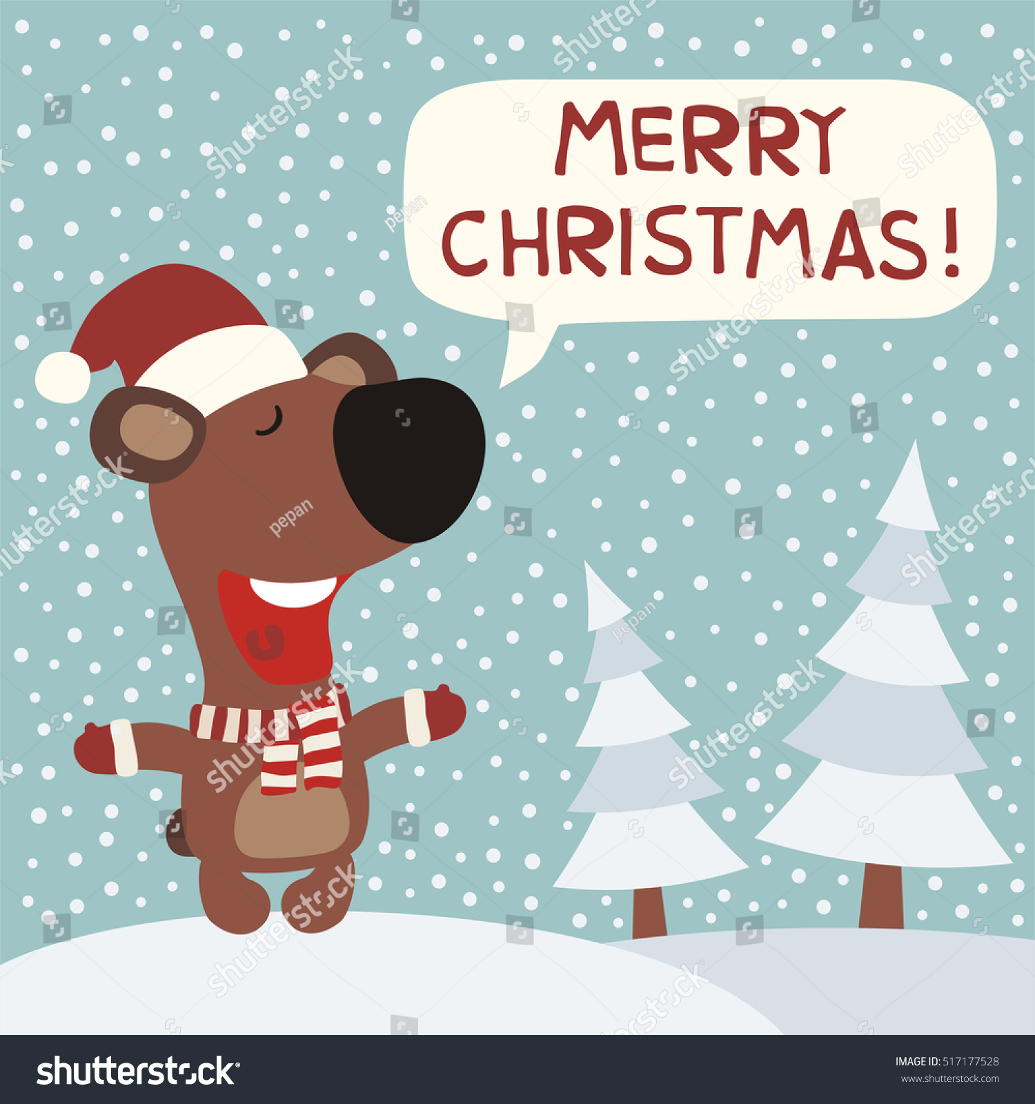 merry christmas funny bear in red hat on background snowflakes in cartoon style greeting - Funny Merry Christmas