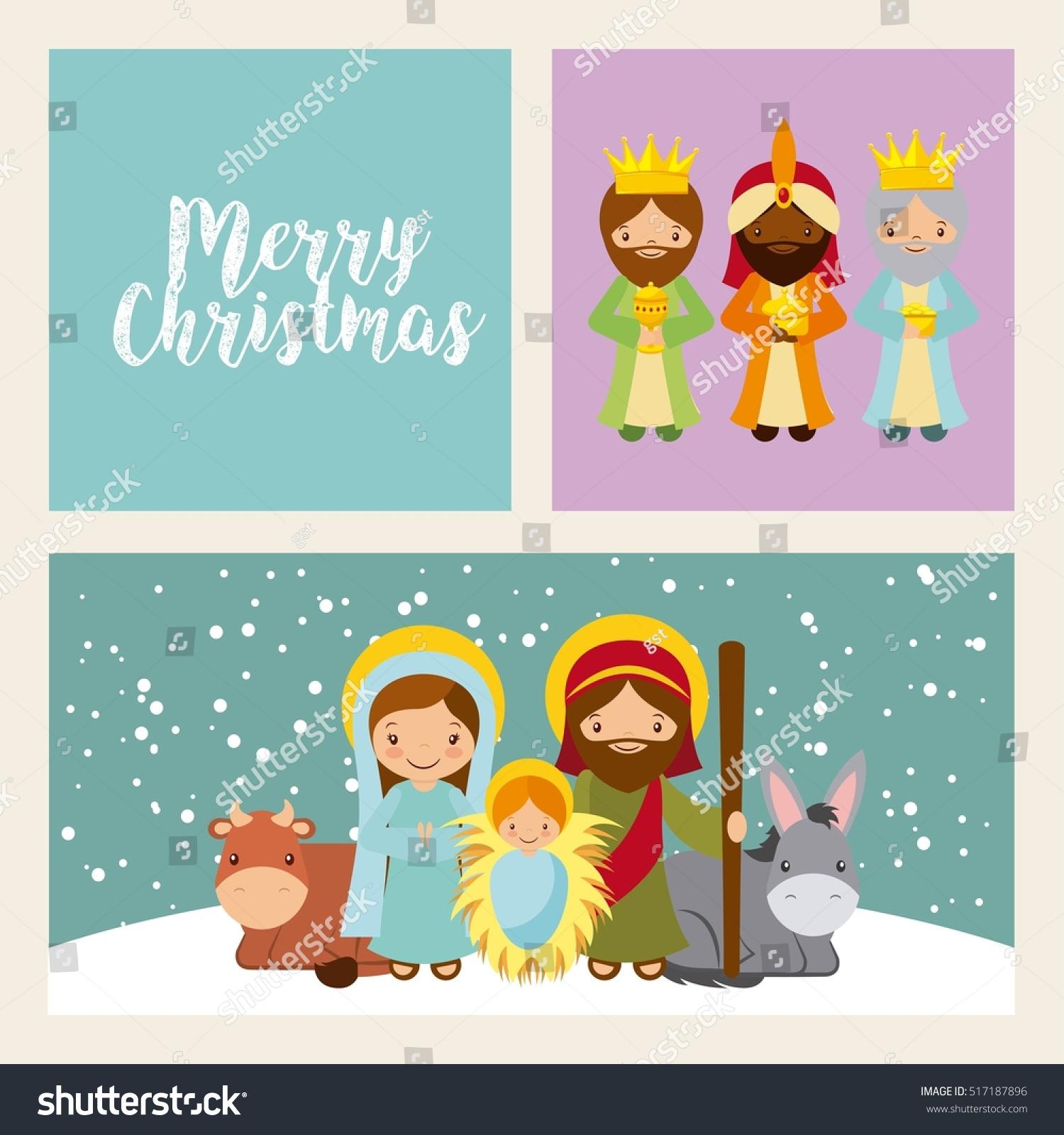 Holy Family Manger Scene Merry Christmas Stock Vector Royalty Free