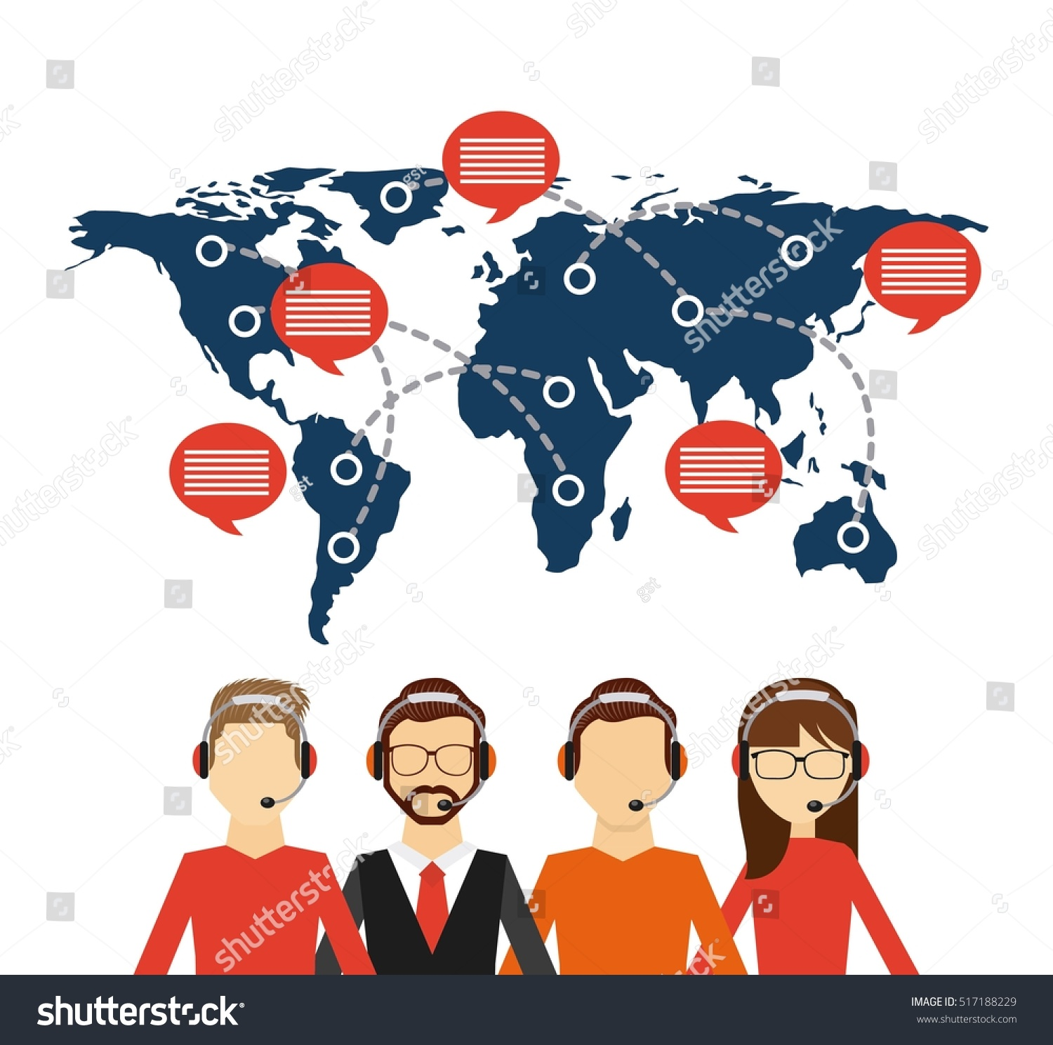 Customer service workers headset world map vectores en stock customer service workers headset world map vectores en stock 517188229 shutterstock gumiabroncs Images