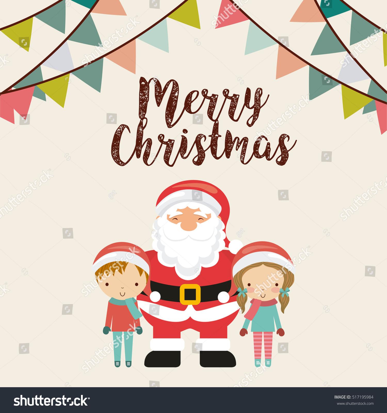 Merry Christmas Card Cartoon Santa Claus Stock Vector (Royalty Free ...