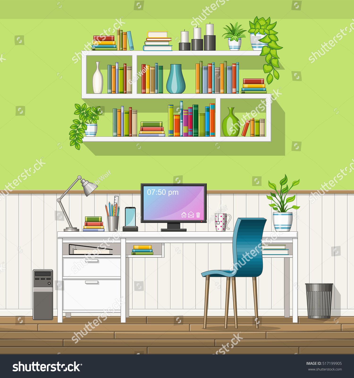 Illustration Interior Equipment Home Office Stock Vector