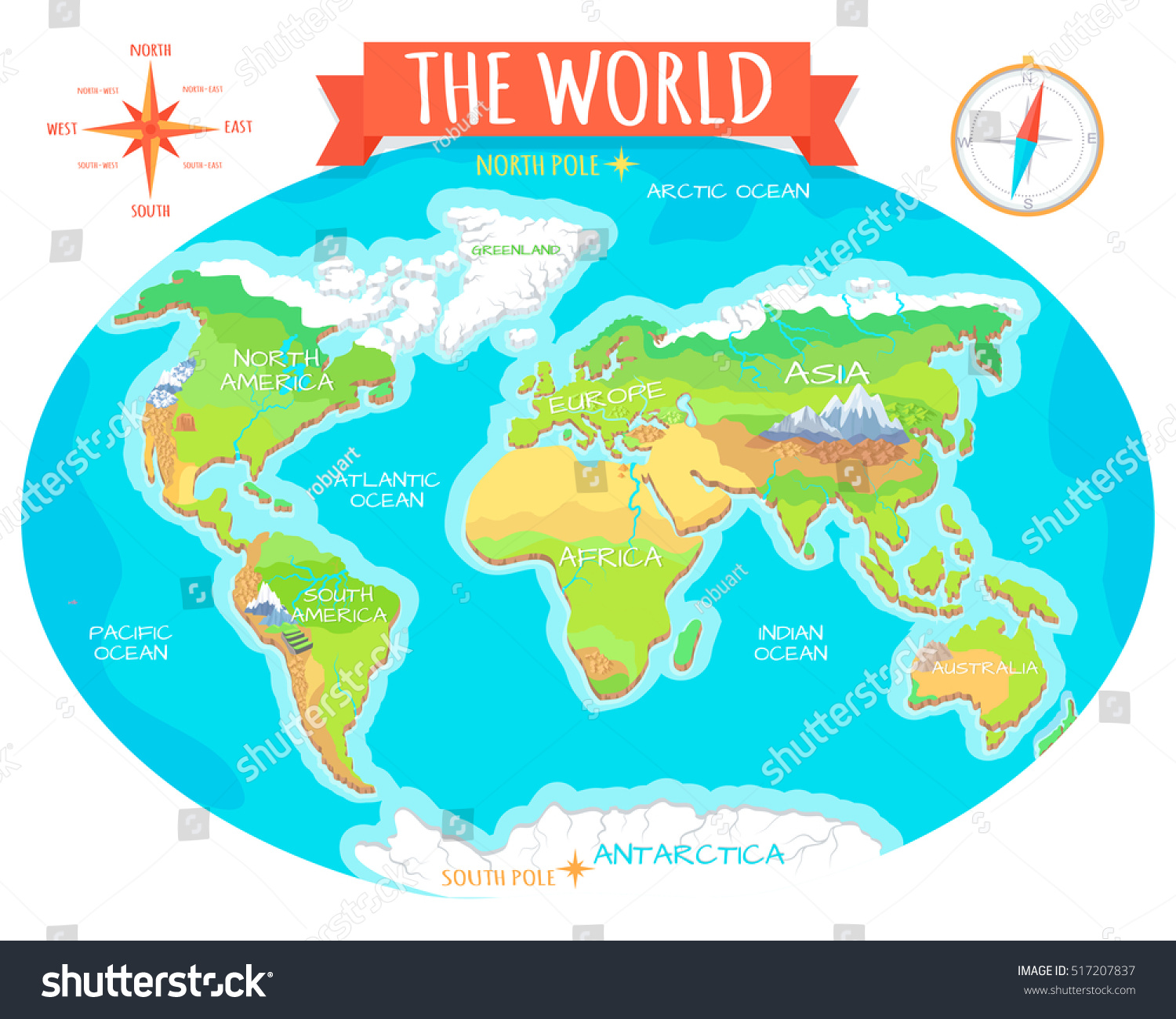 World geographical map names continents oceans vectores en stock the world geographical map names of continents oceans north and south america gumiabroncs Images