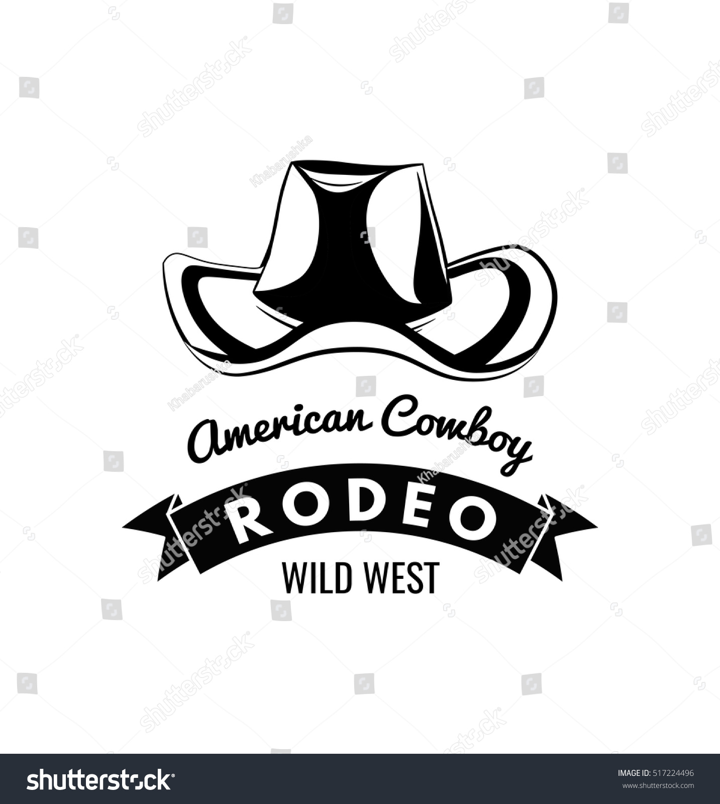 Cowboy hat. Wild West Label. Rodeo Competition Badge. Western Illustration. Vector  Isolated 559227ae78d7