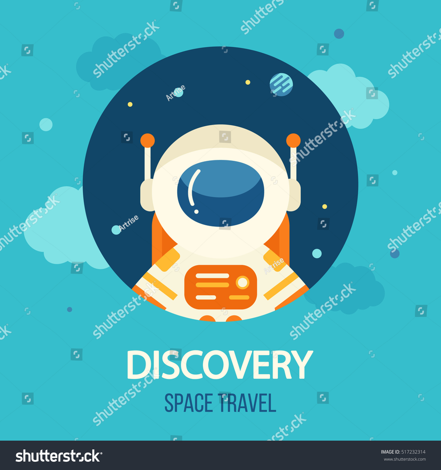 Cosmos discovery poster exploration travel theme stock for Outer space poster design