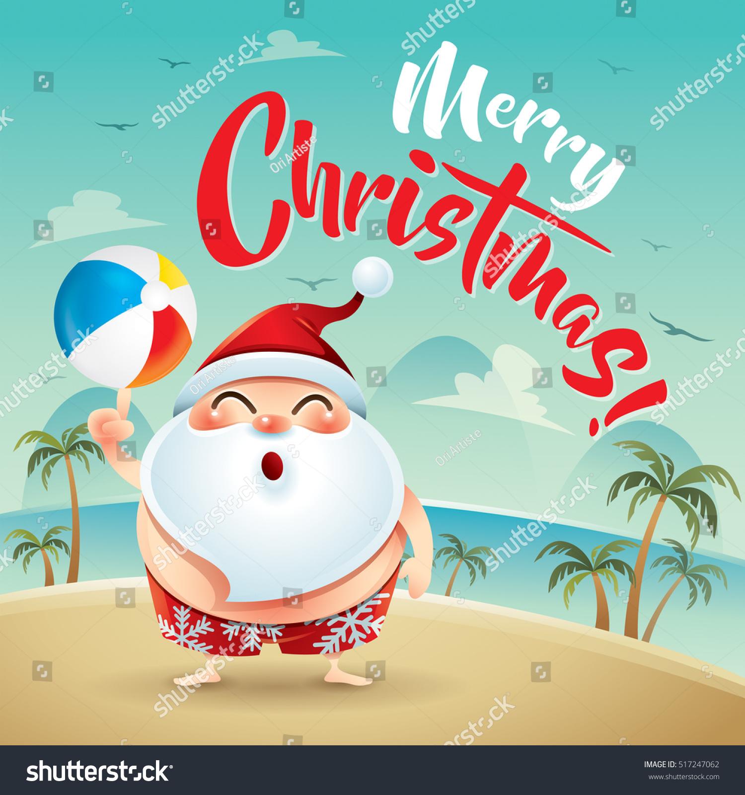merry christmas santa claus on the beach holiday