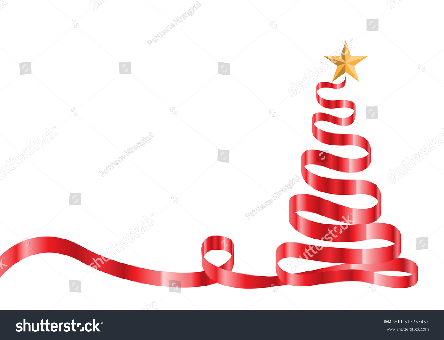 Red ribbon star christmas tree on stock vector 517257457 for Red ribbon around tree