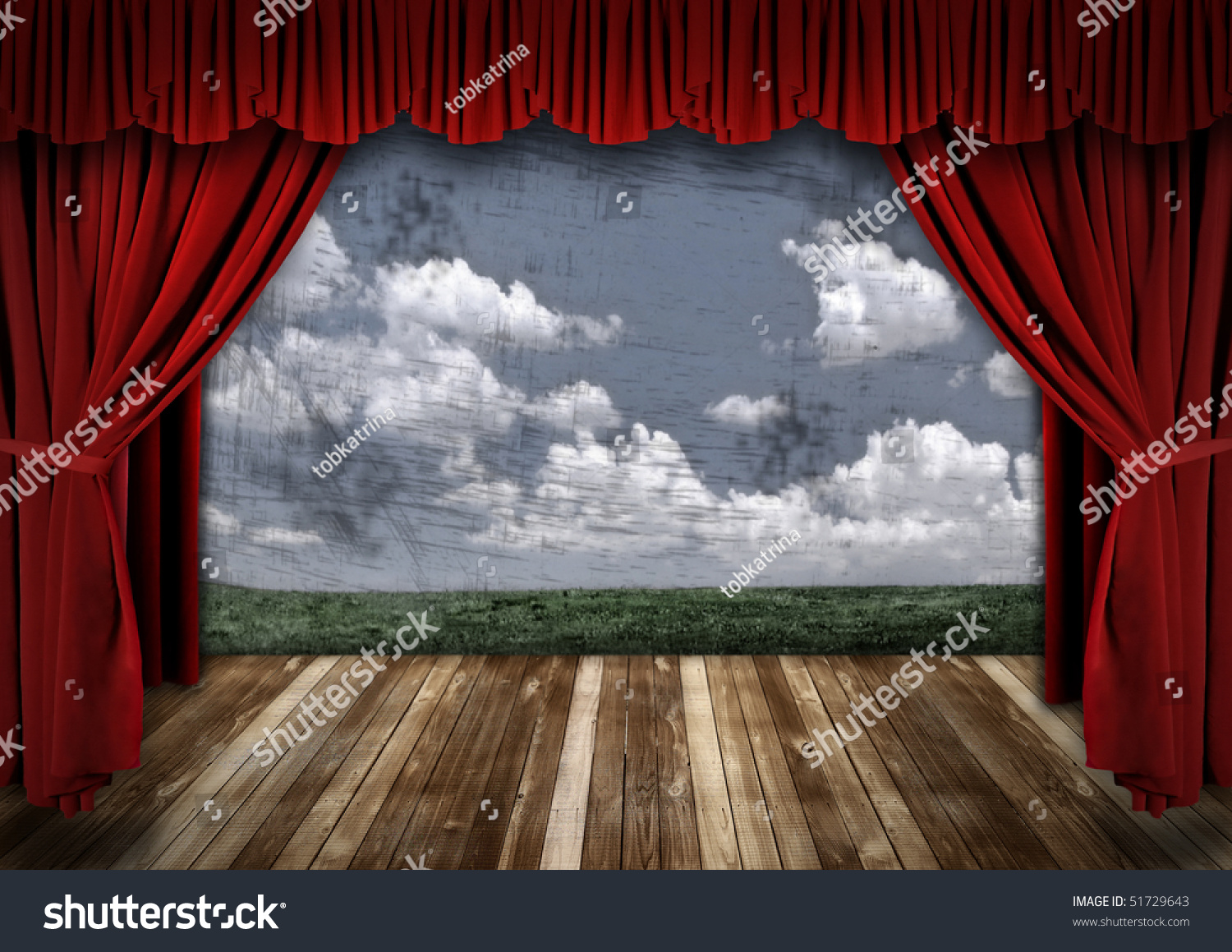 Stage curtain background open stage curtains background red stage - Stage With Red Velvet Theater Curtains And Sky Background