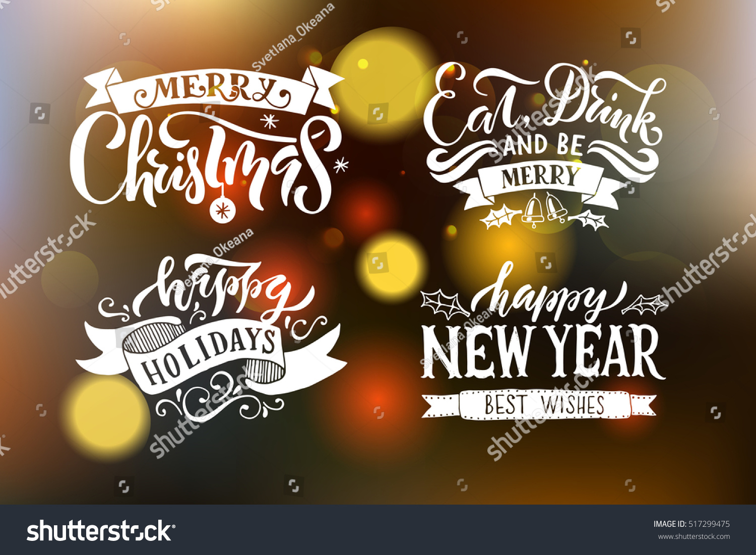 merry christmas happy new year happy holidays greeting card lettering celebration logo set