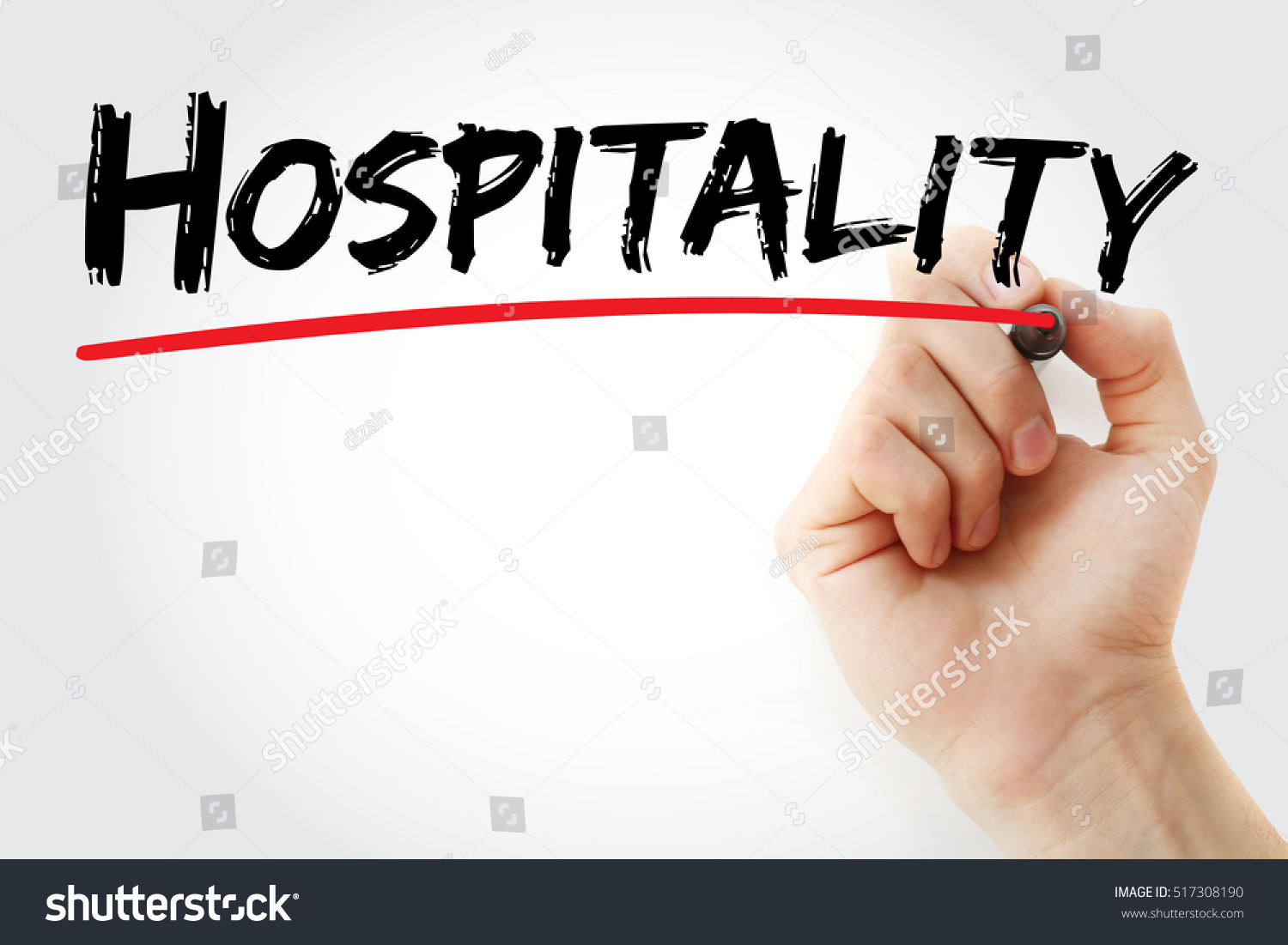 Hand Writing Hospitality Marker Concept Background Stock