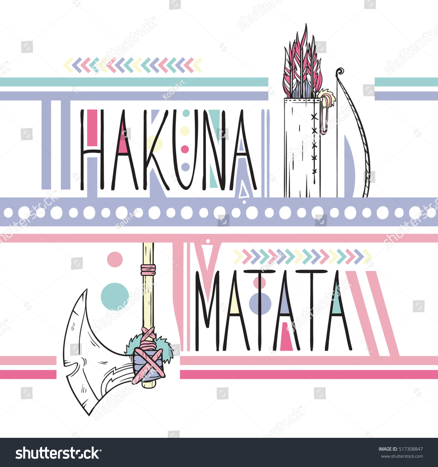 Swahili Lettering Print Hakuna Matata Clothes Stock Vector Royalty
