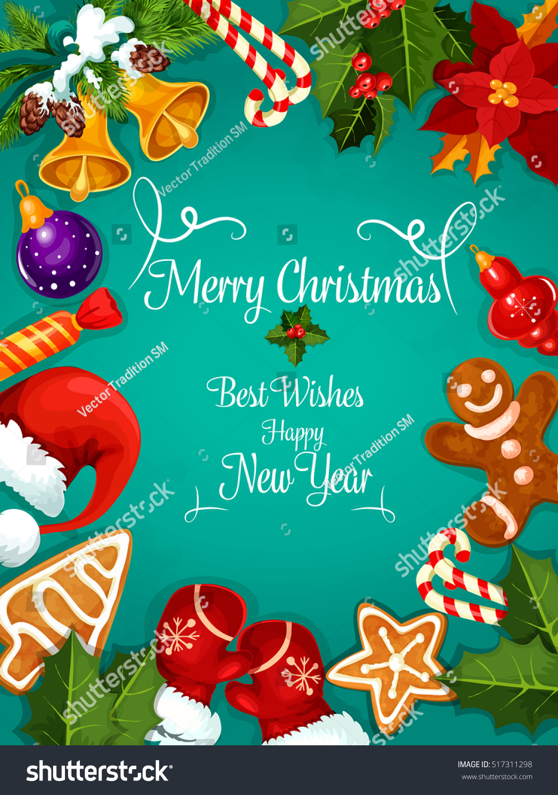 Merry Christmas New Year Greeting Card Stock Vector ...