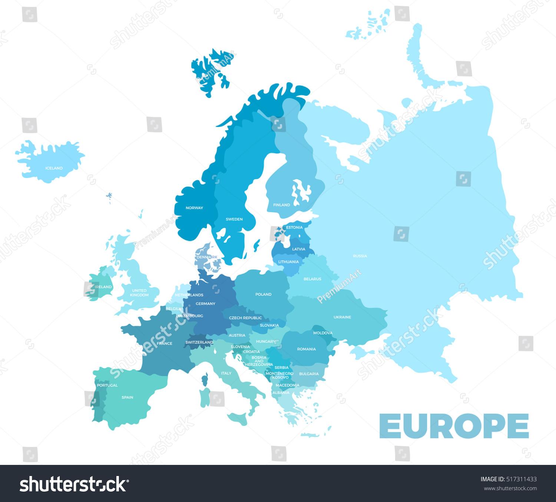 europe modern detailed map all european stock illustration 517311433 shutterstock