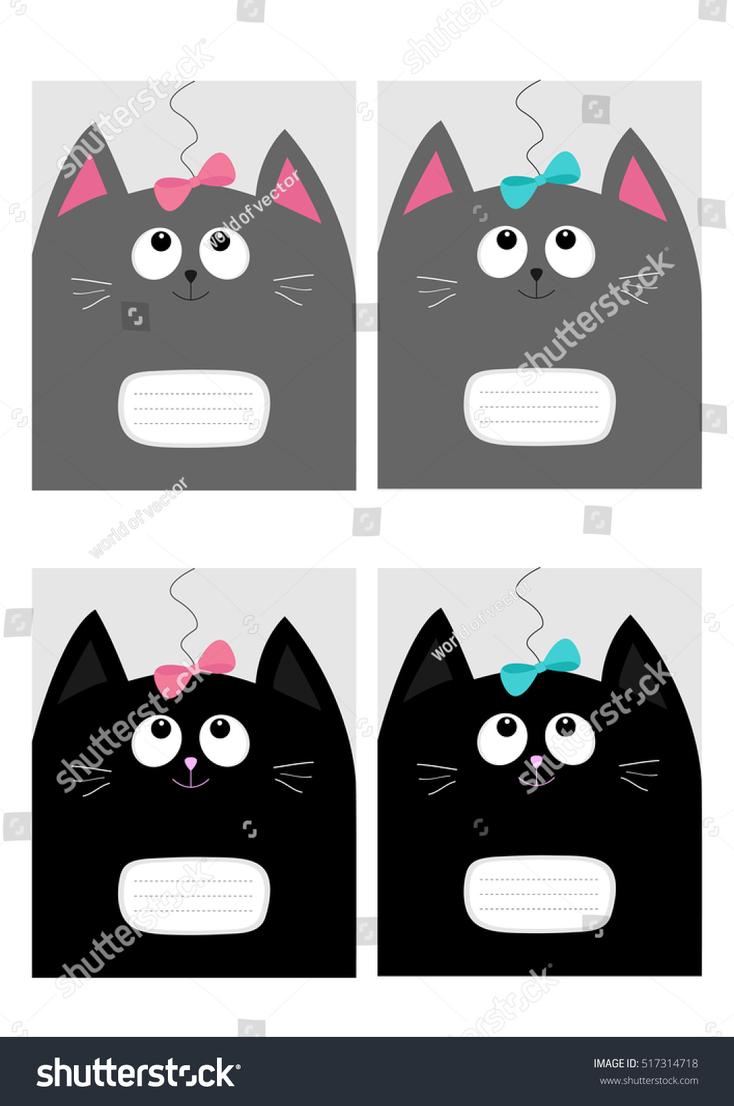 Notebook Cover Composition Book Template. Black Gray Cat Kitty Head Looking  At Pink Blue Bow