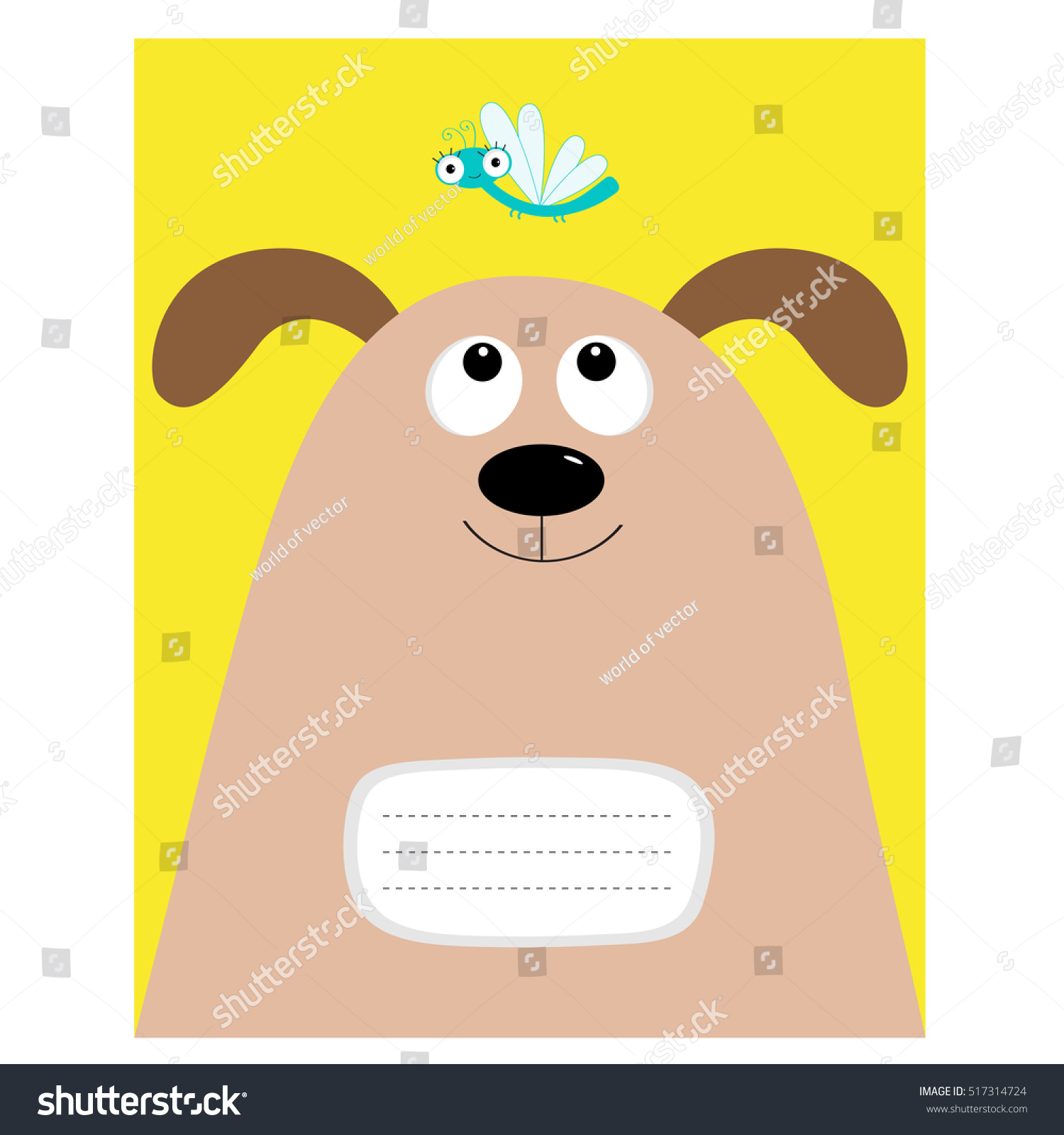 Notebook Cover Composition Book Template Dog Stock Vector Royalty