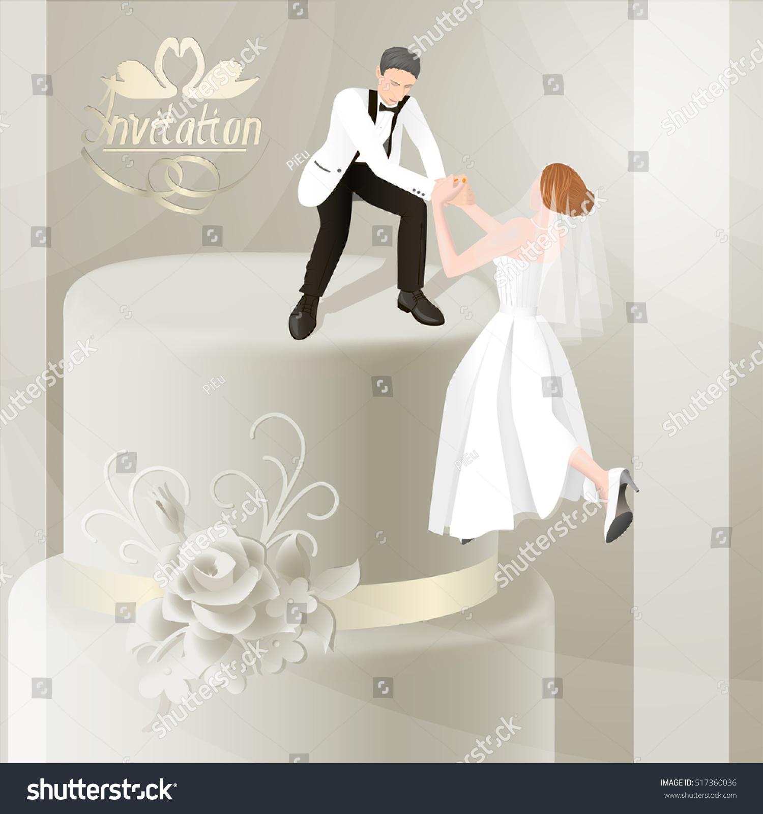 Illustration Wedding Invitation Card Bride Groom Stock Vector ...