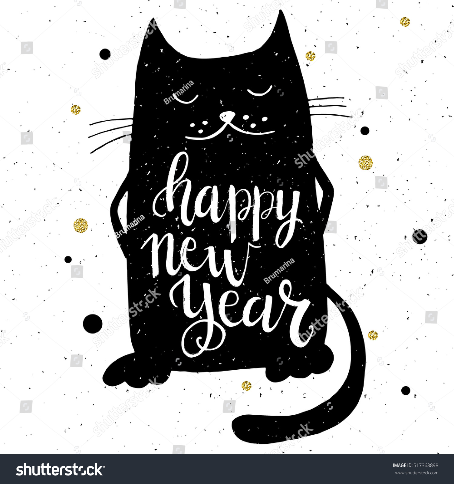 Christmas card template. Hand drawn lettering Happy New Year. Cute ...