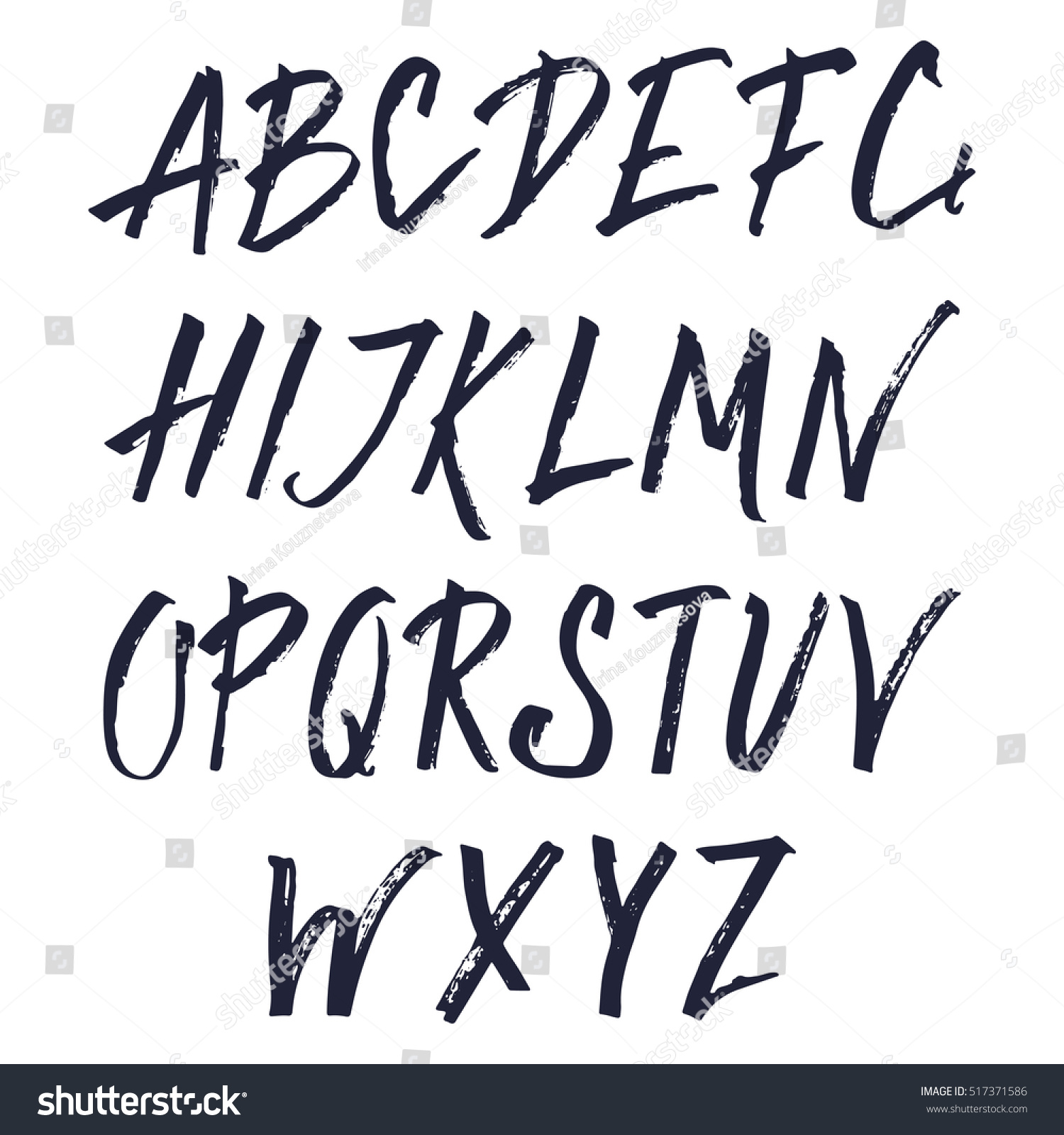 Uppercase Hand Painted Ink Alphabet Creative Letters For Your Design