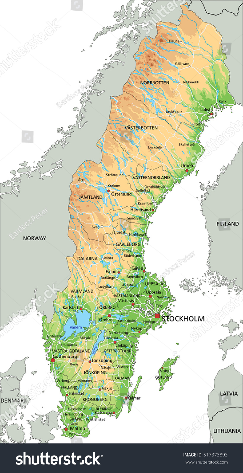 High Detailed Sweden Physical Map Labeling Stock Vector - Sweden map physical