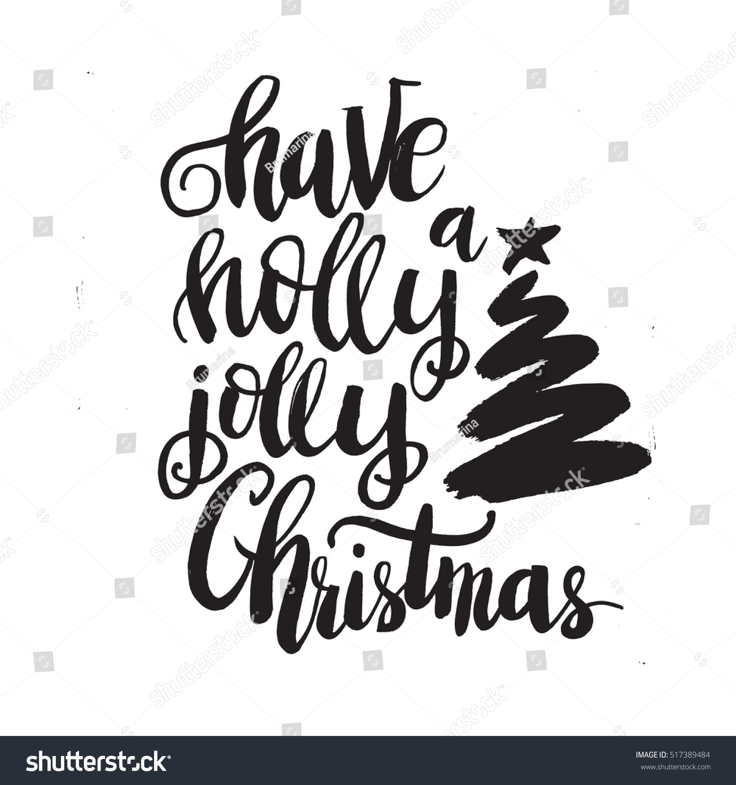 Christmas Card Template Have Holly Jolly Stock Vector (Royalty Free ...