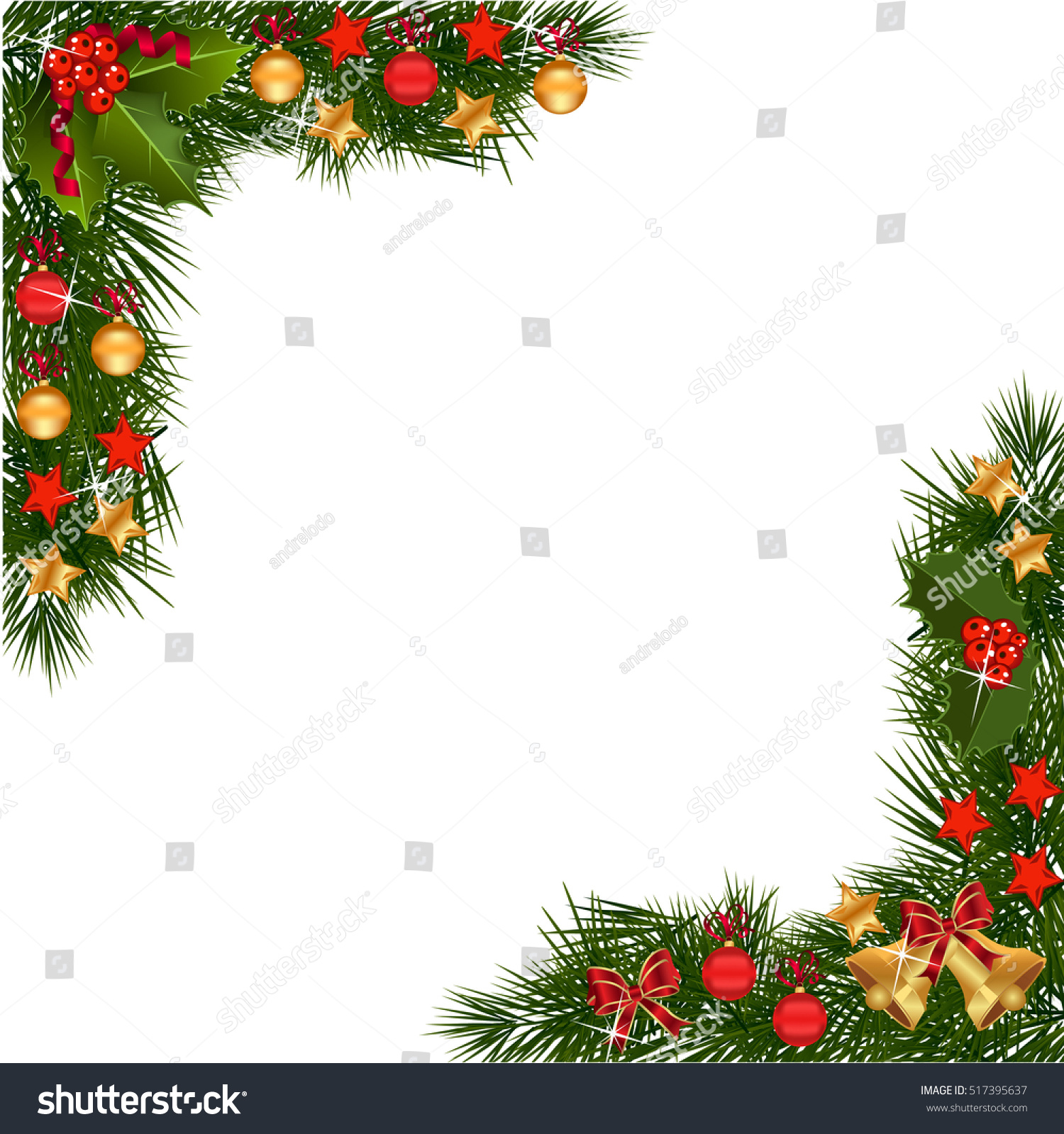 Why is holly a traditional christmas decoration - A Traditional Christmas Garland Made With Red Berries And Decorations On A White Background Festive