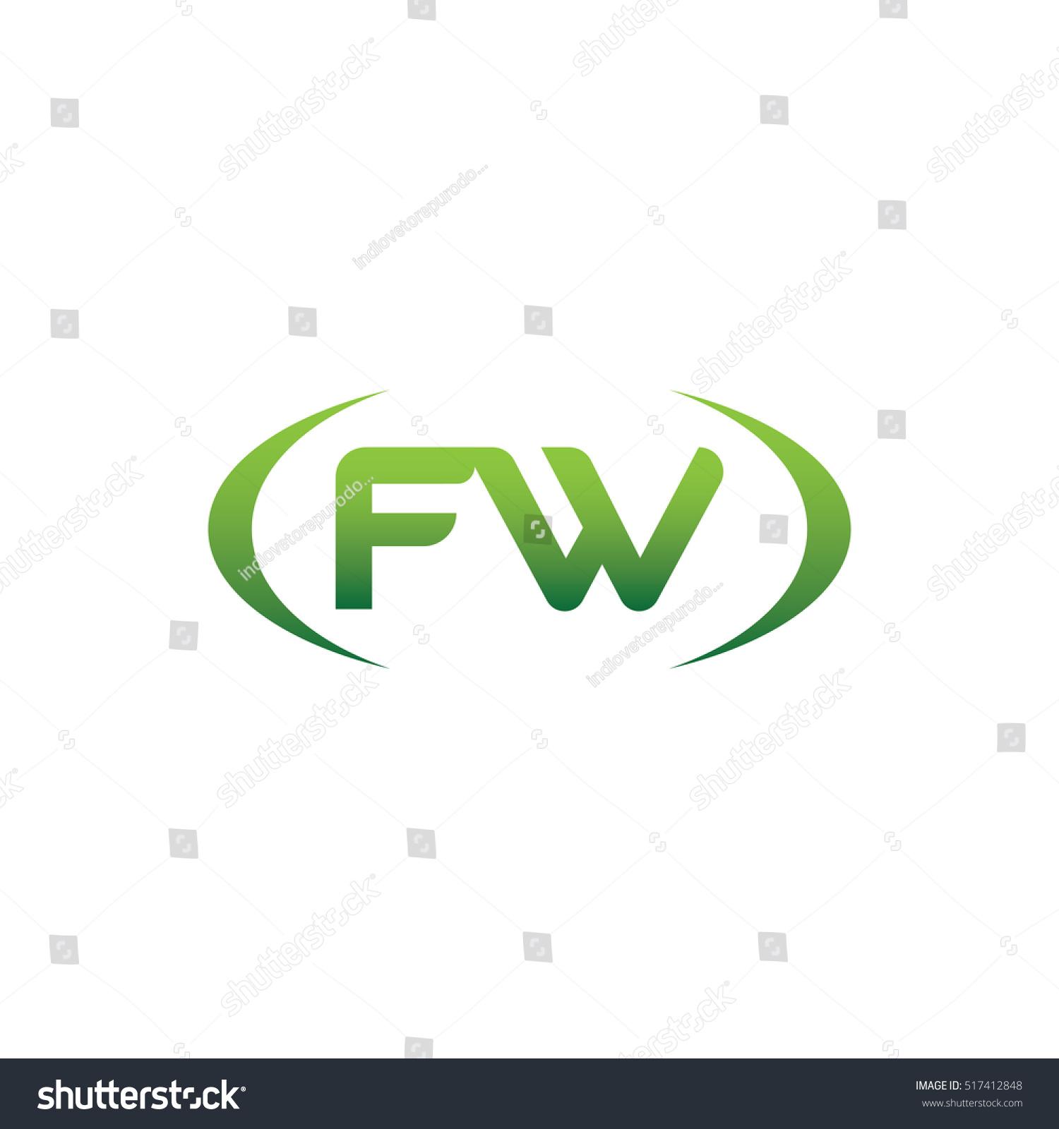 Initial Letter Fw Brackets Uppercase Logo Stock Vector