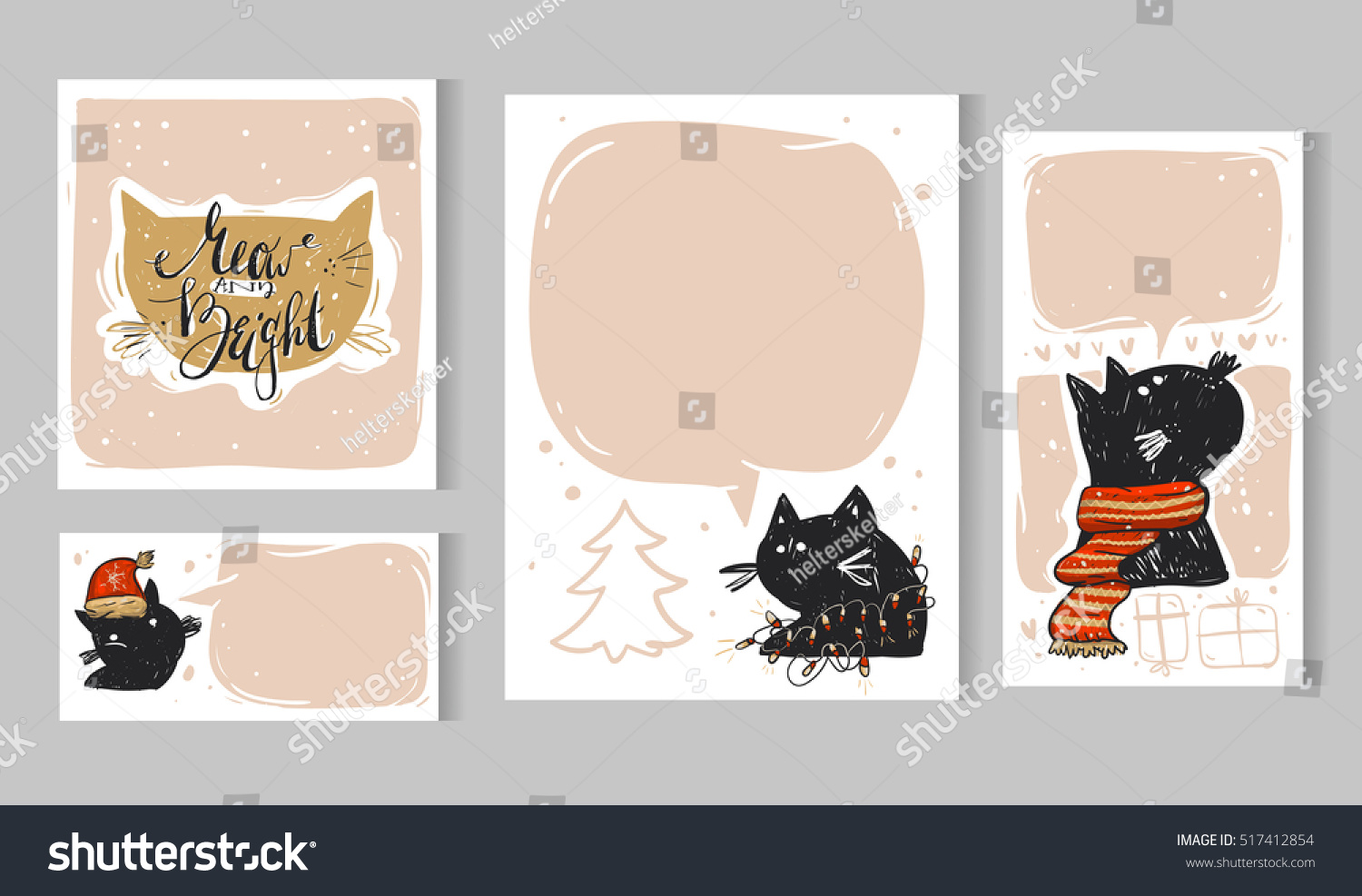 Collection Christmas Card Templates Christmas Posters Set Vector ...