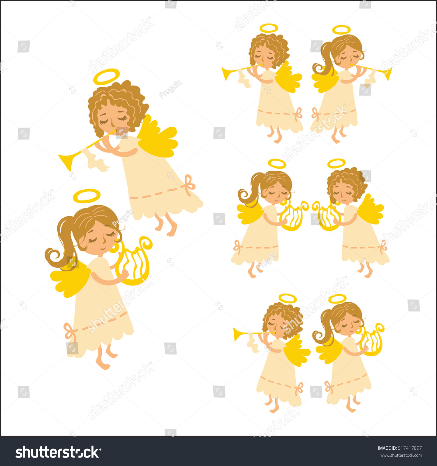 Vector Christmas Angels Playing Musical Instruments Stock Vector ...