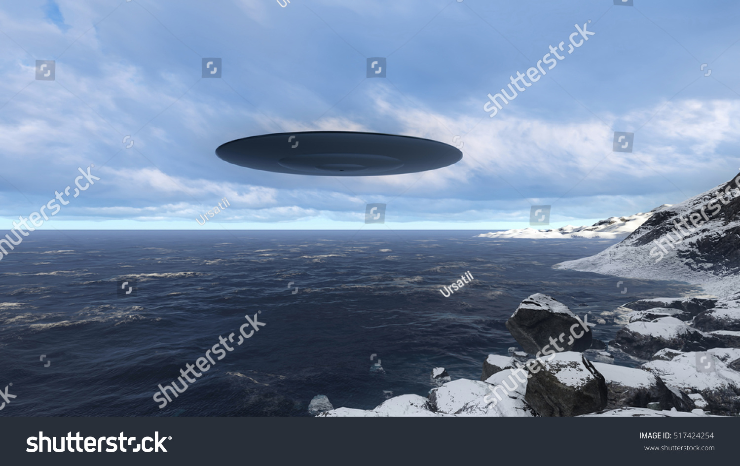 3D UFO over the North Sea and waves