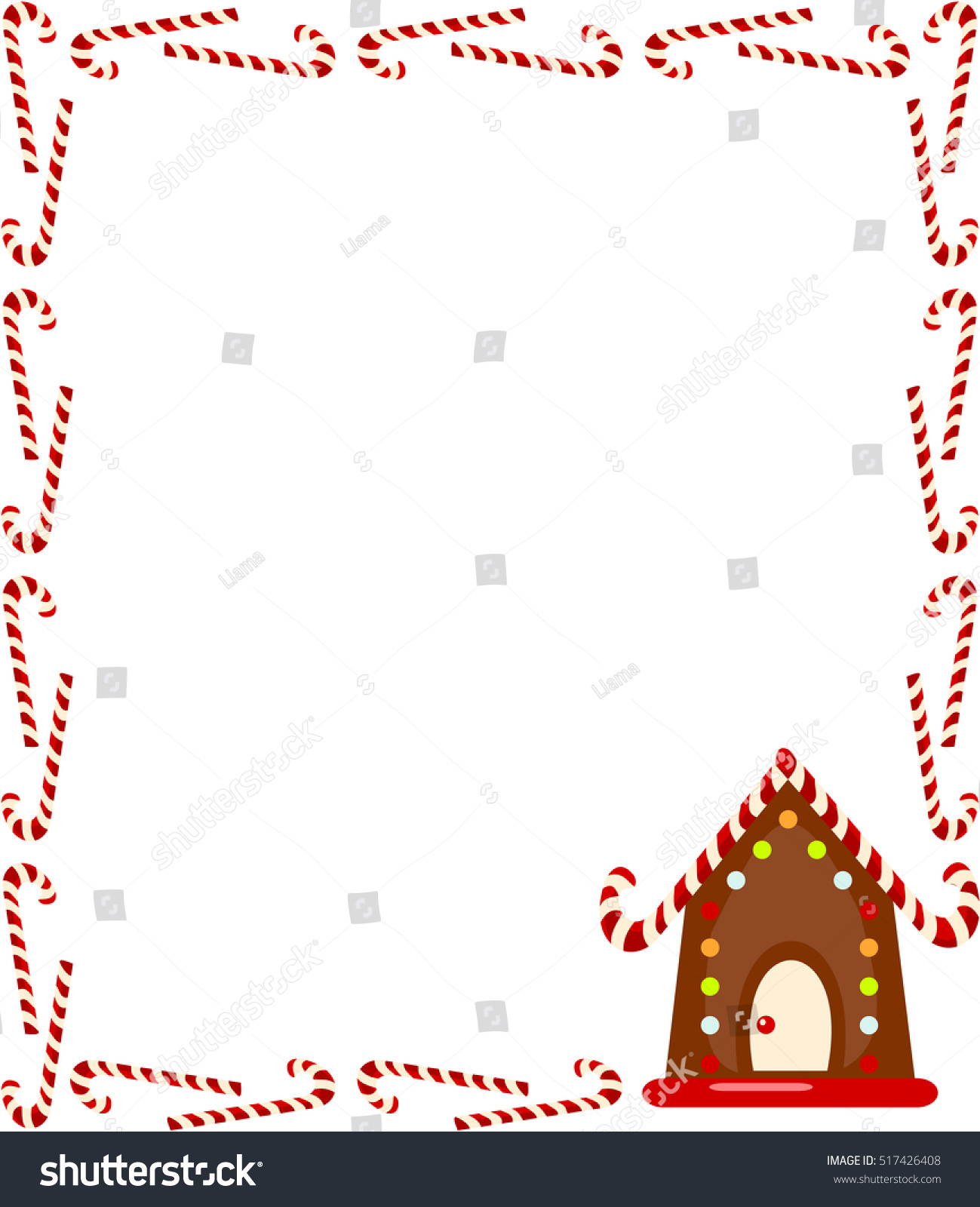 Large Rectangular Frame Candy Canes Gingerbread Stock ...