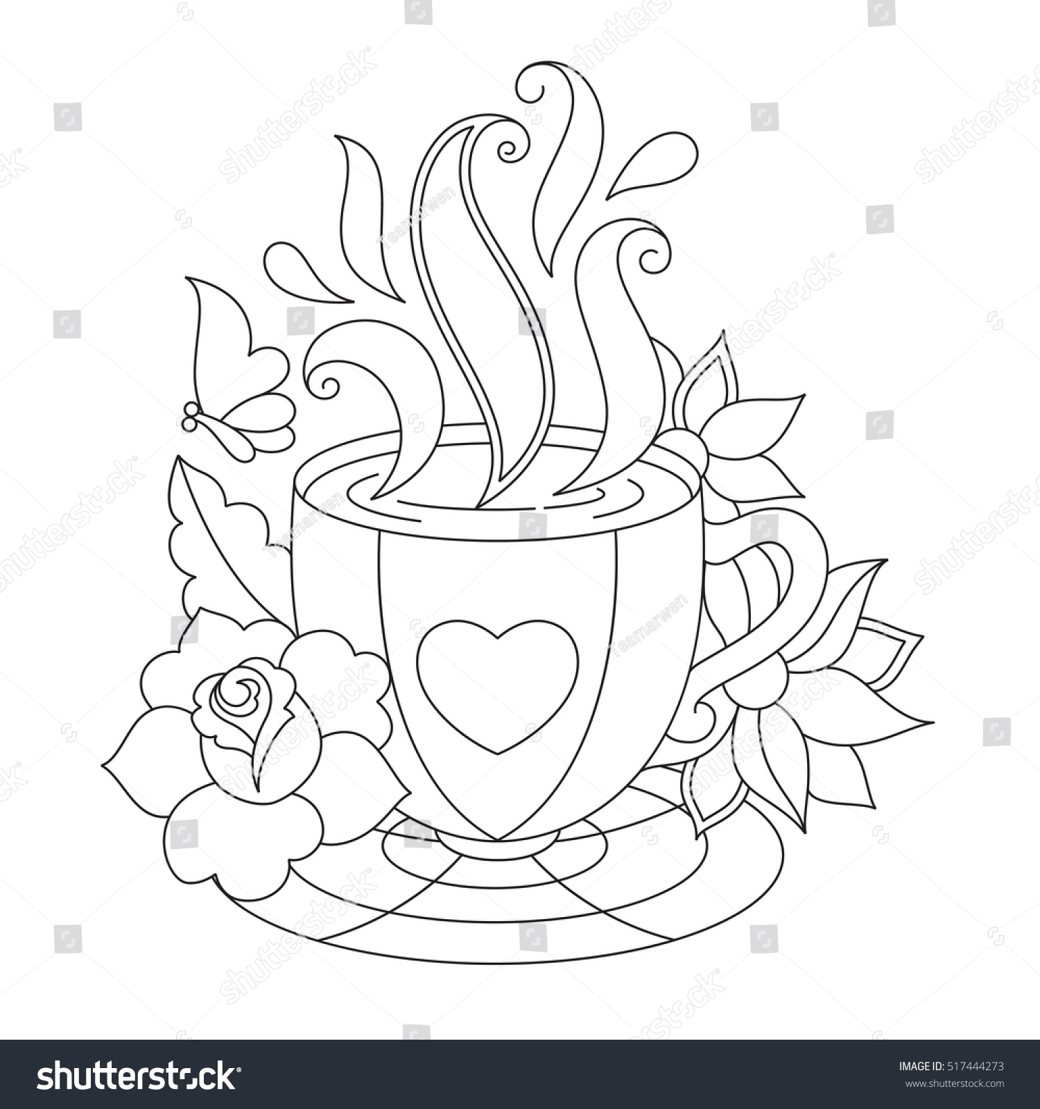 Vector coffee tea cup coloring pages stock vector for Cup picture for colouring