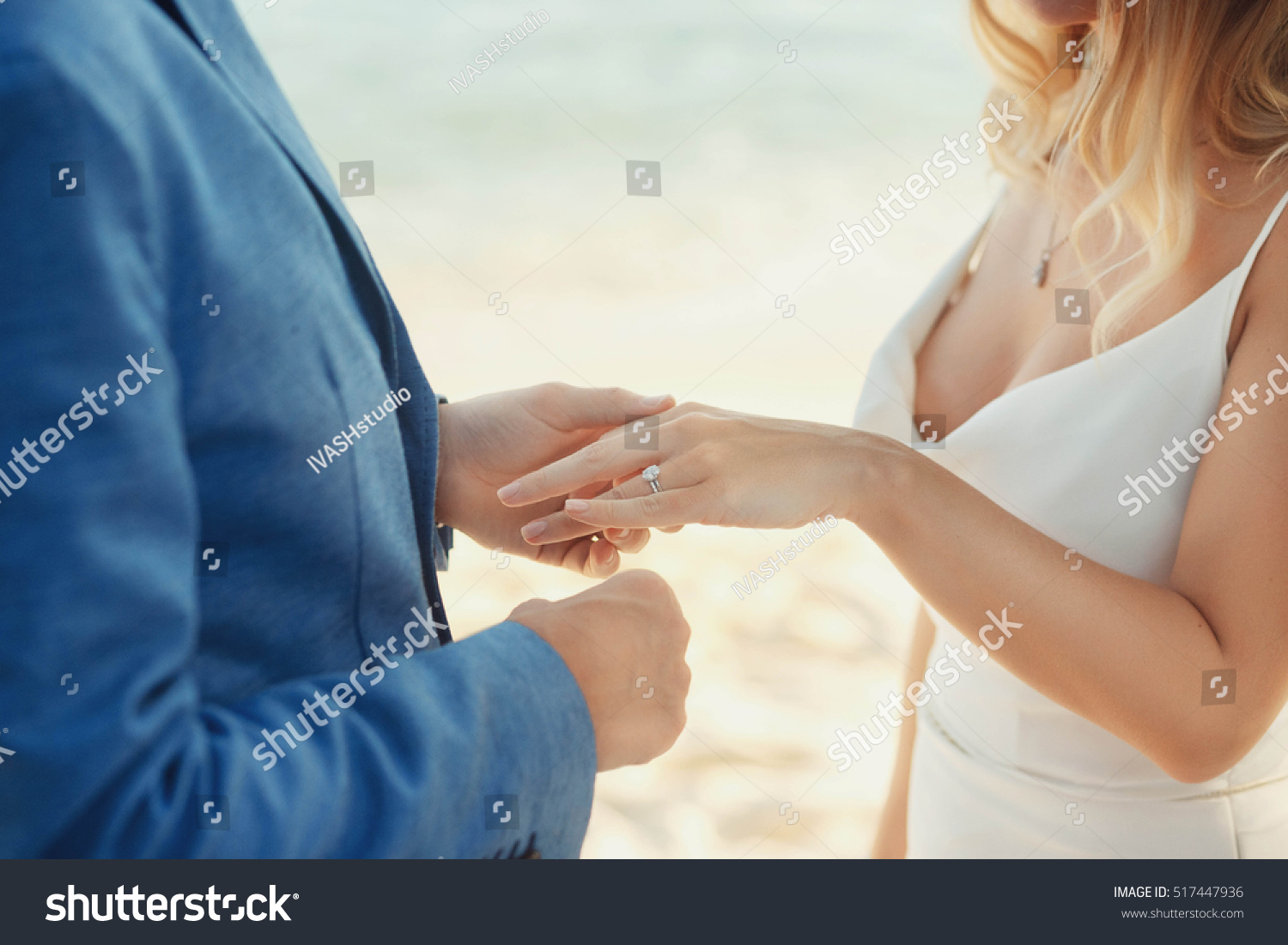 Groom Wears Wedding Ring On Hand Stock Photo 517447936 Shutterstock