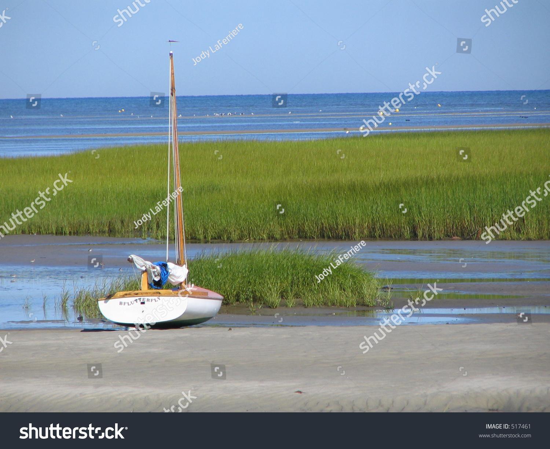 Cape Cod Low Tide Part - 19: Beached Sailboat At Low Tide, Cape Cod