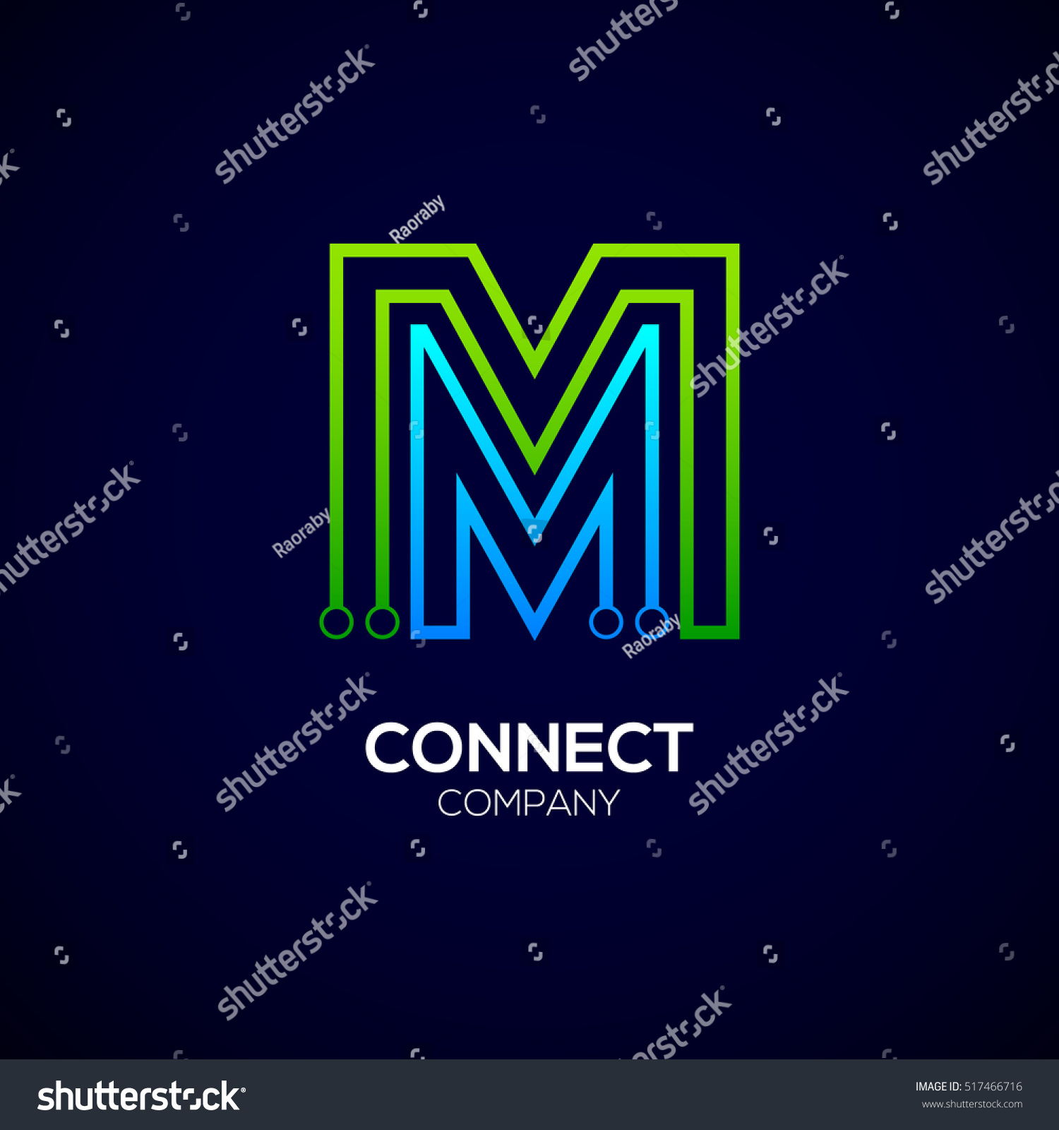letter m logotype green blue colortechnology stock vector