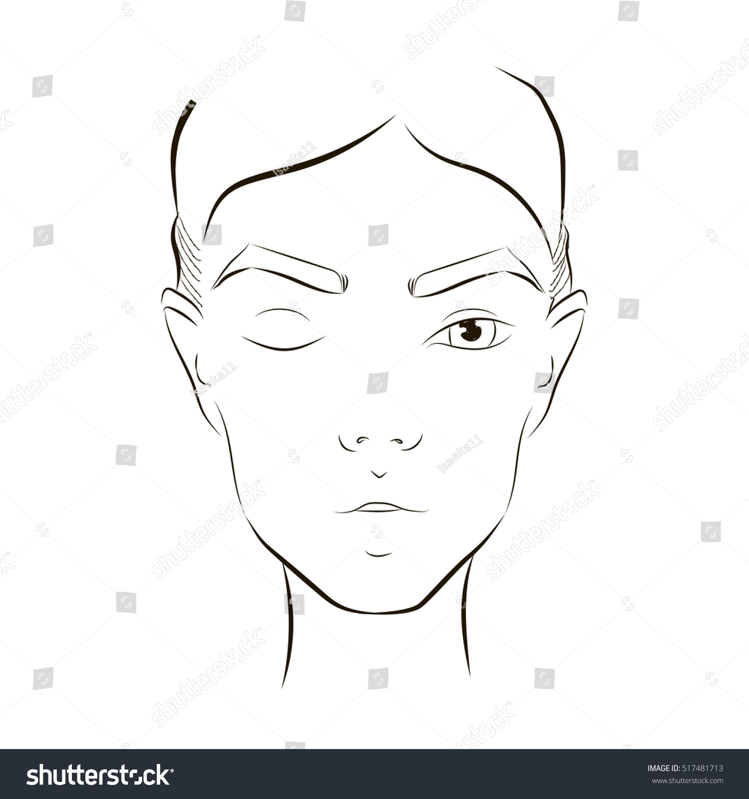 Beauty face chart close woman portrait stock vector 517481713 beauty face chart close up woman portrait makeup artist blank template face chart pronofoot35fo Gallery